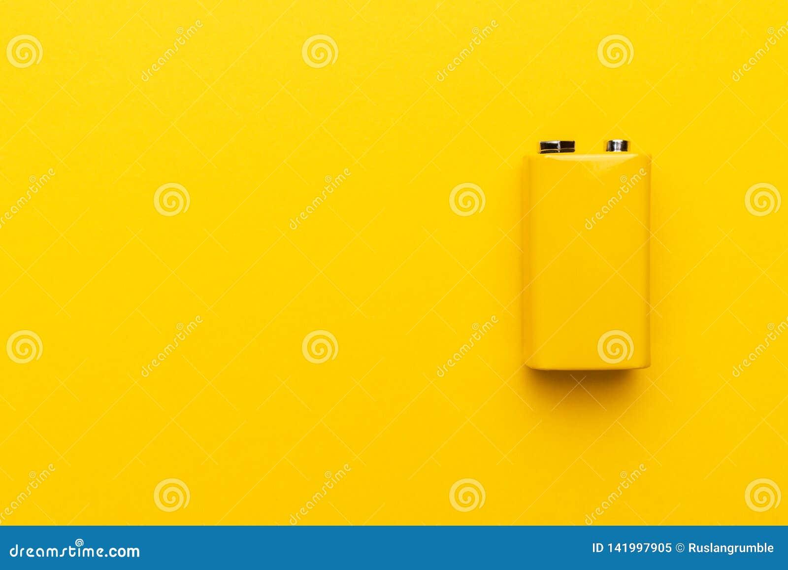 Gele negen-volt batterij