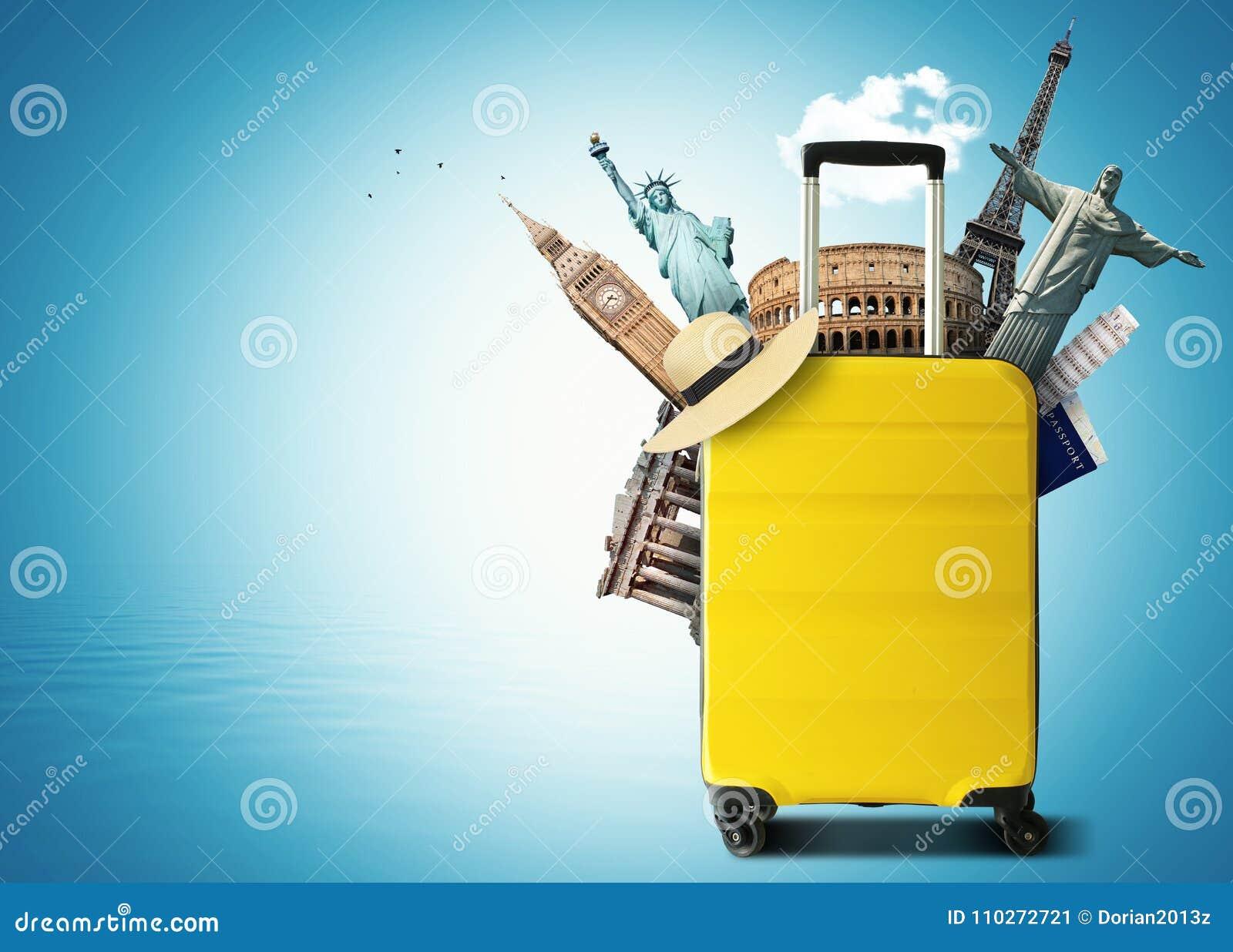 Gele reiszak met wereldoriëntatiepunt