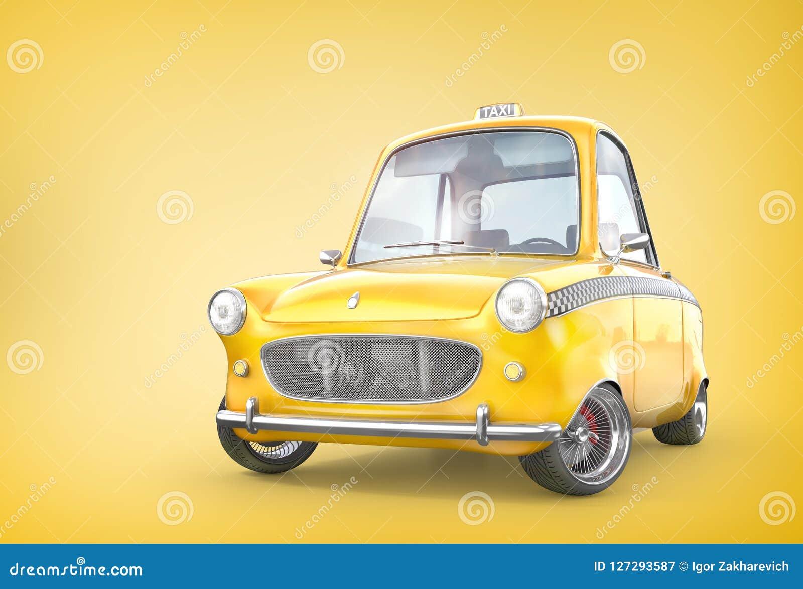 Gele retro taxiauto op een gele achtergrond 3D Illustratie