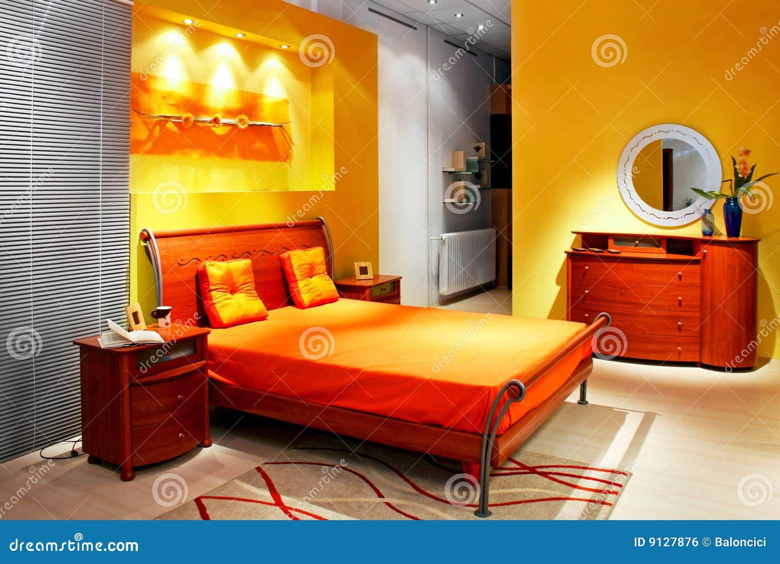 Gele Slaapkamer Royalty-vrije Stock Afbeelding - Beeld: 9127876