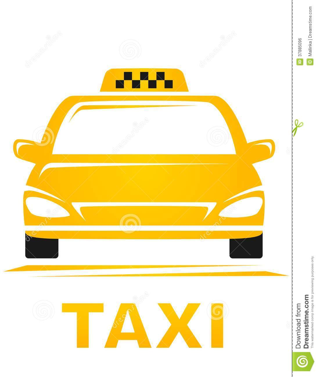 Gele taxiauto