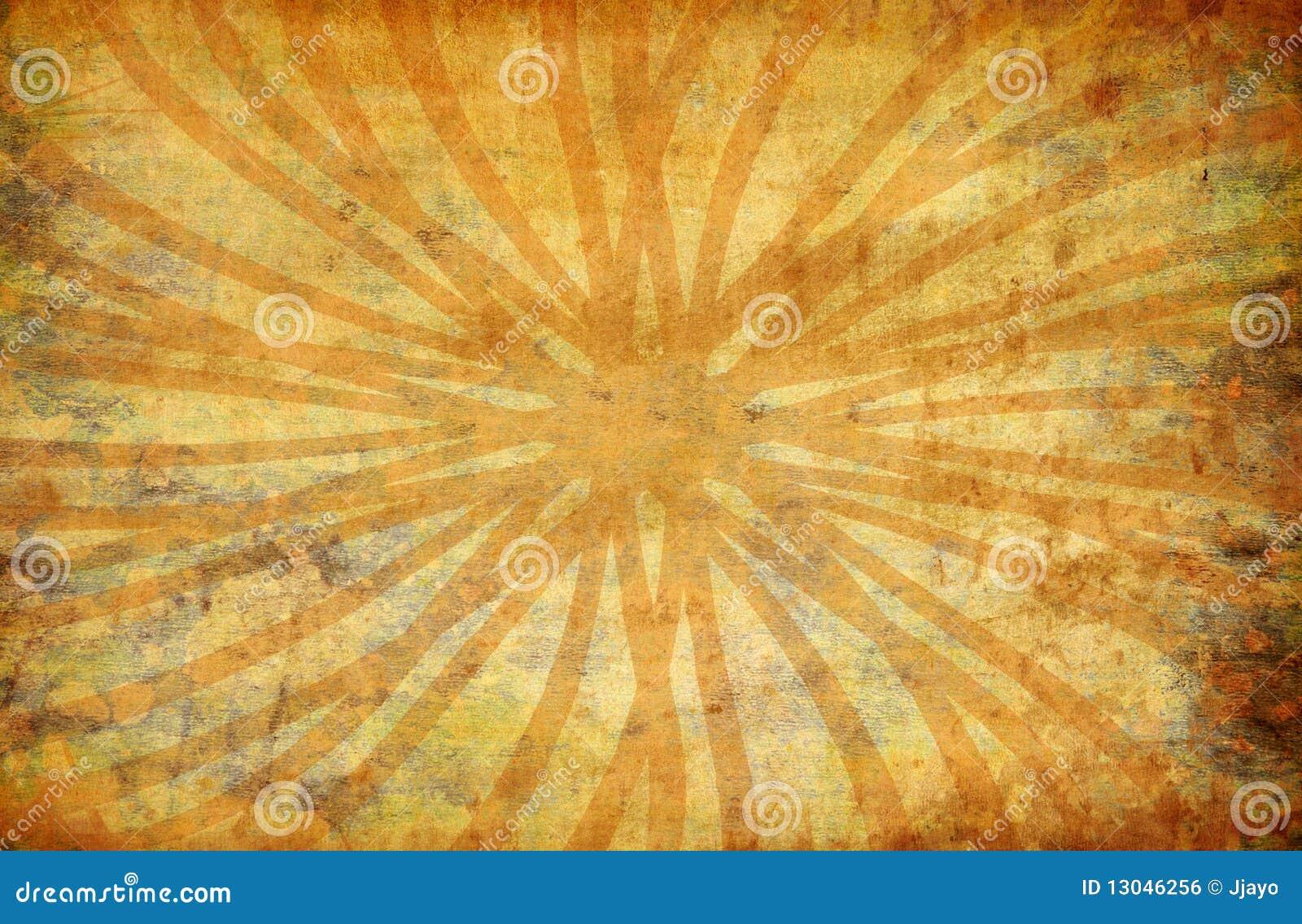 Gele uitstekende grungeachtergrond met zonstralen