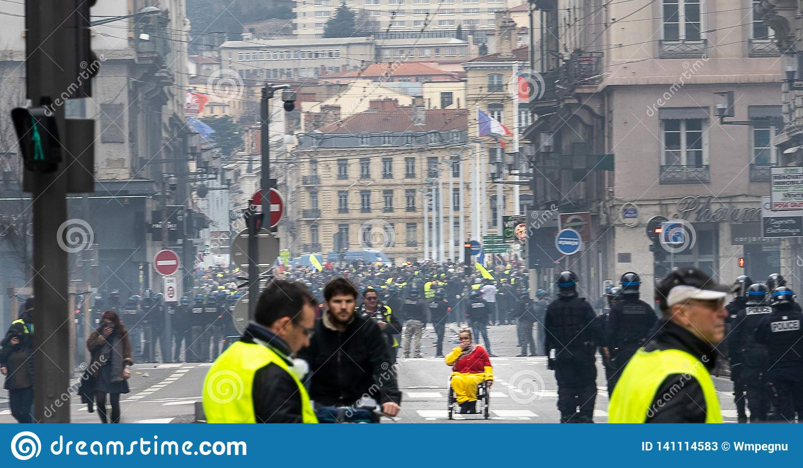 Gele vestenprotesten Lyon Frankrijk