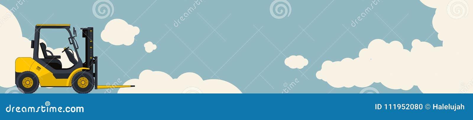 Gele vorkheftrucklader, hemel met wolken op achtergrond Horizontale bannerlay-out met klein graafwerktuig, kraan