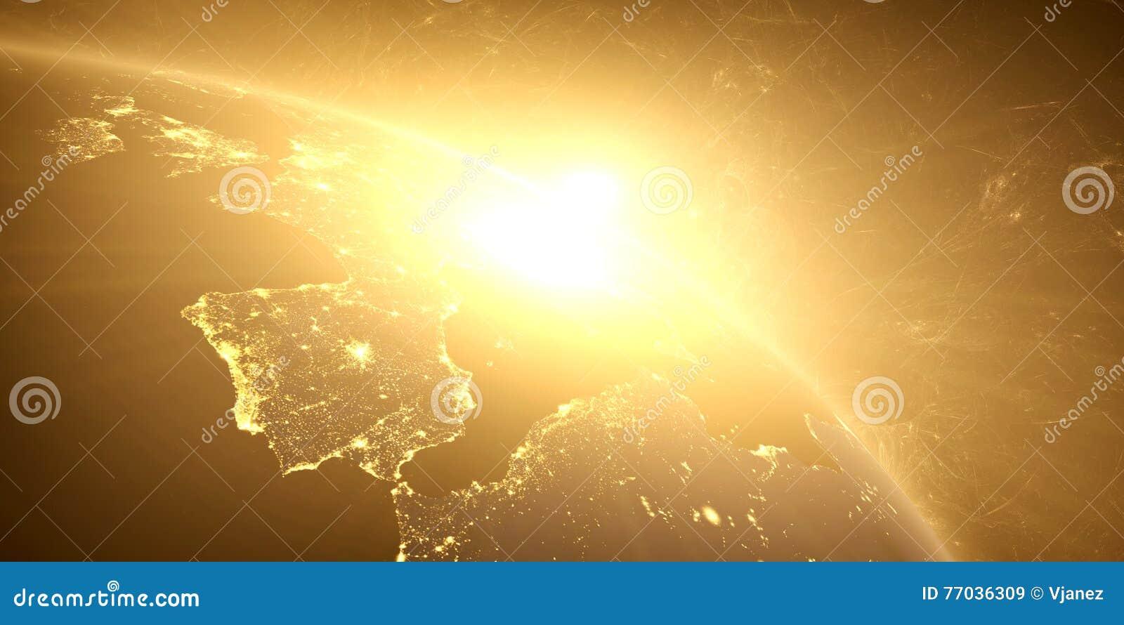 Gele zonsopgang, zonnestraal,