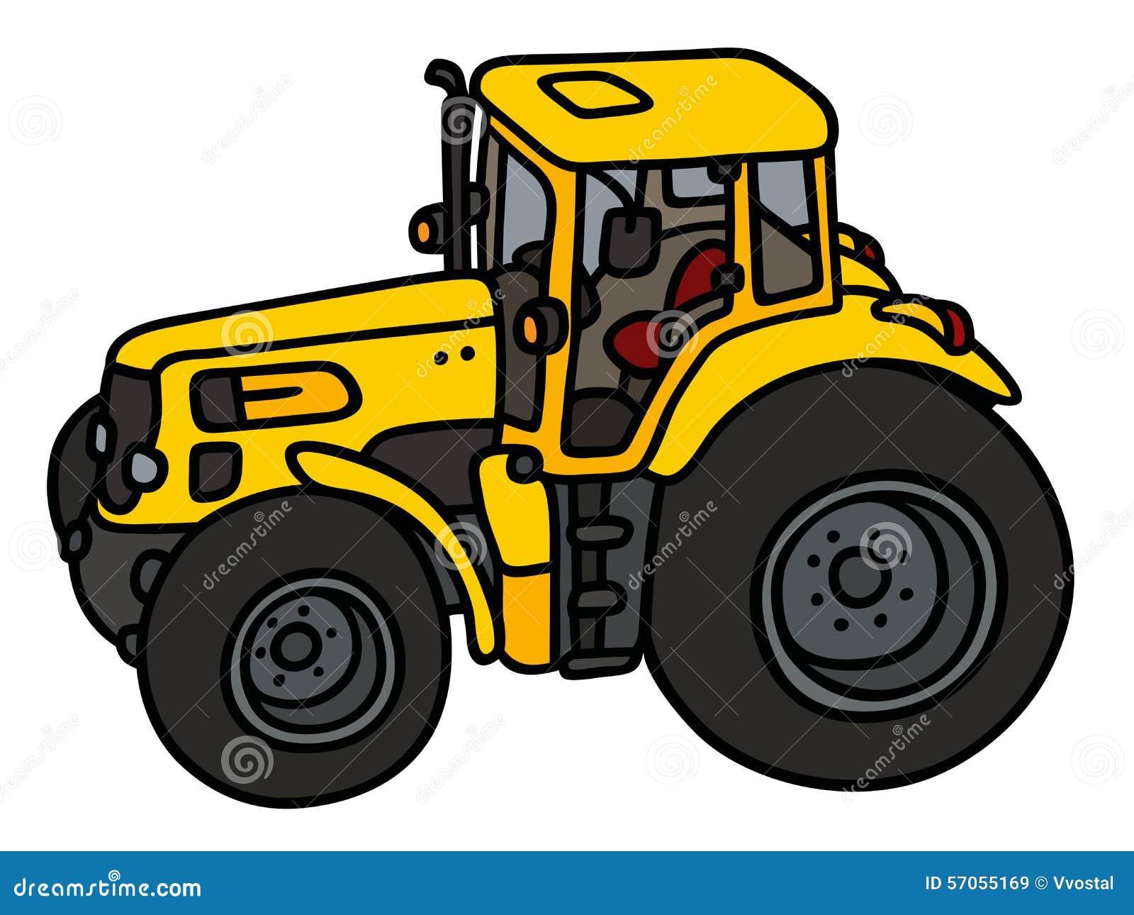 Gele zware tractor