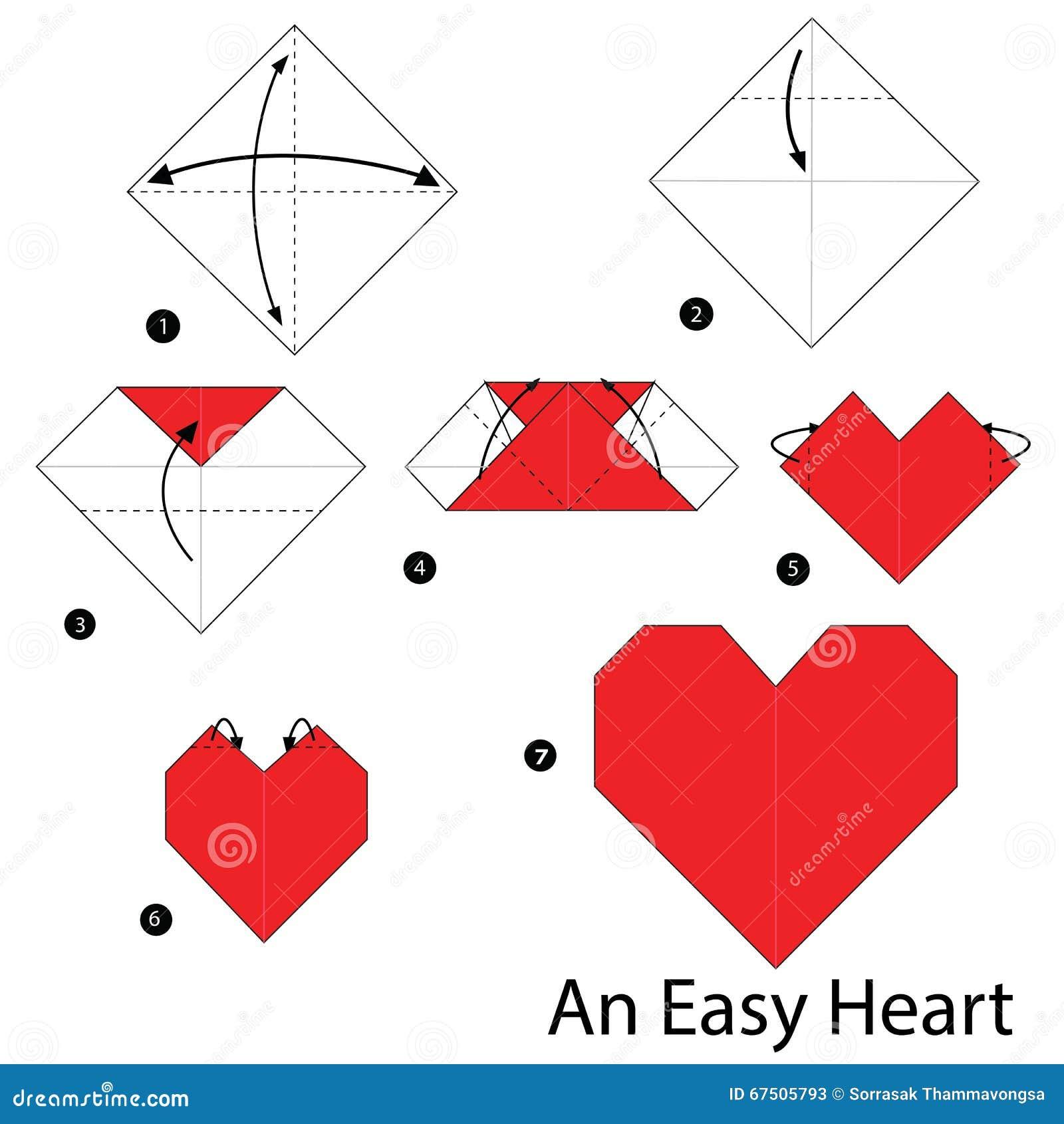 Geleidelijke instructies hoe te om tot origami een gemakkelijk hart te maken vector illustratie - Hoe om kleuren te maken ...