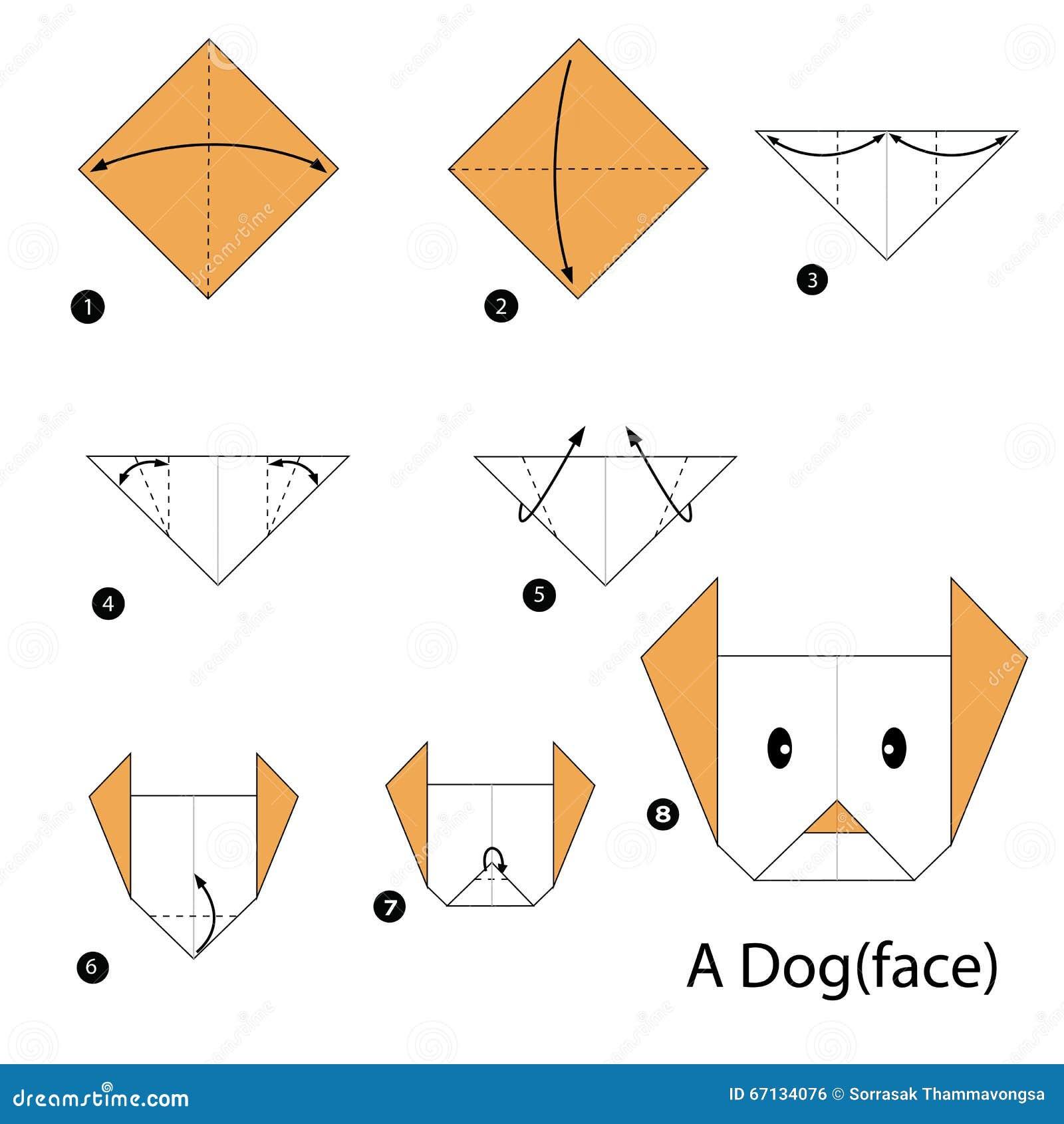 geleidelijke instructies hoe te om tot origami een hond te maken vector illustratie afbeelding. Black Bedroom Furniture Sets. Home Design Ideas