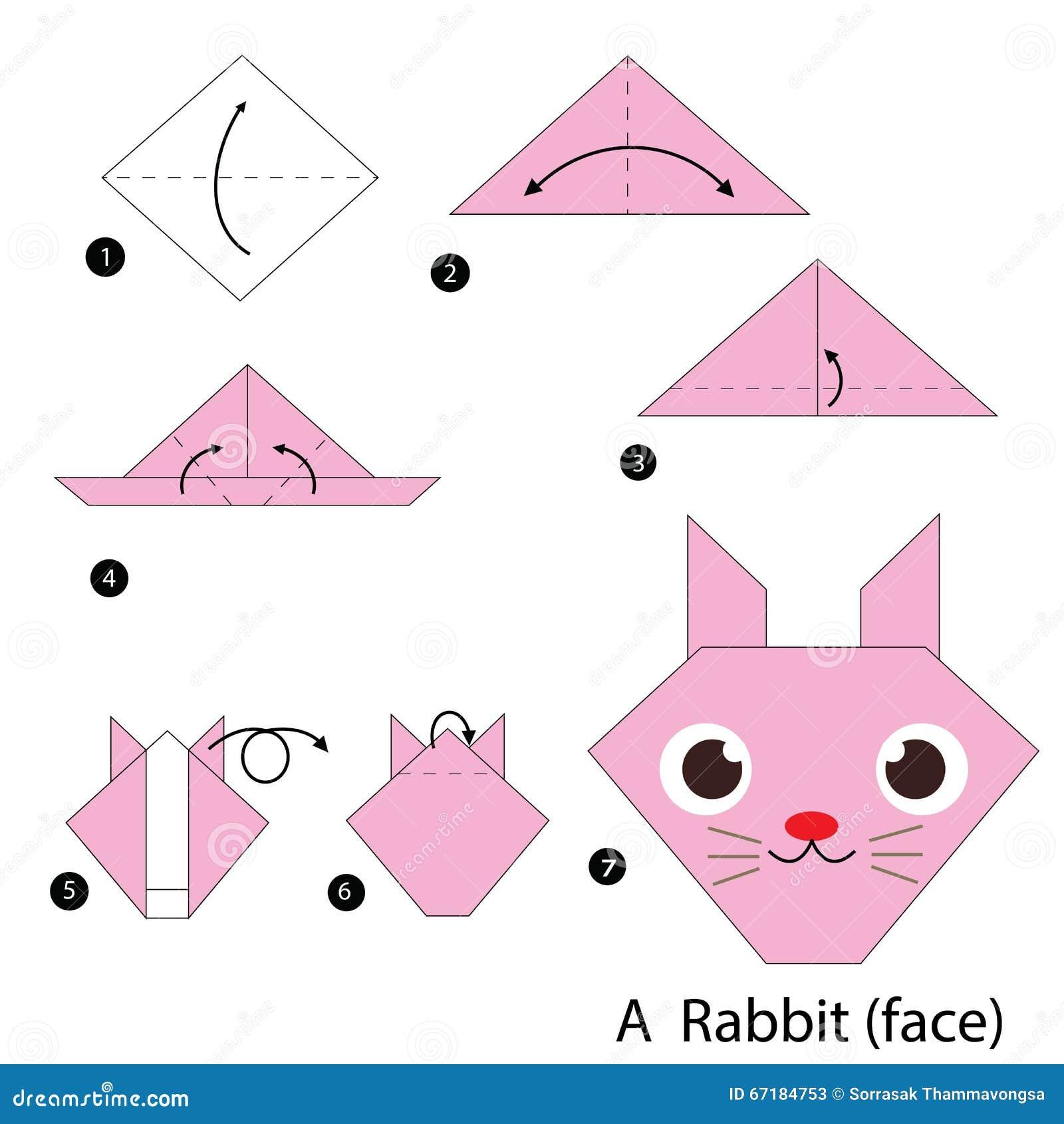 geleidelijke instructies hoe te om tot origami een konijn. Black Bedroom Furniture Sets. Home Design Ideas