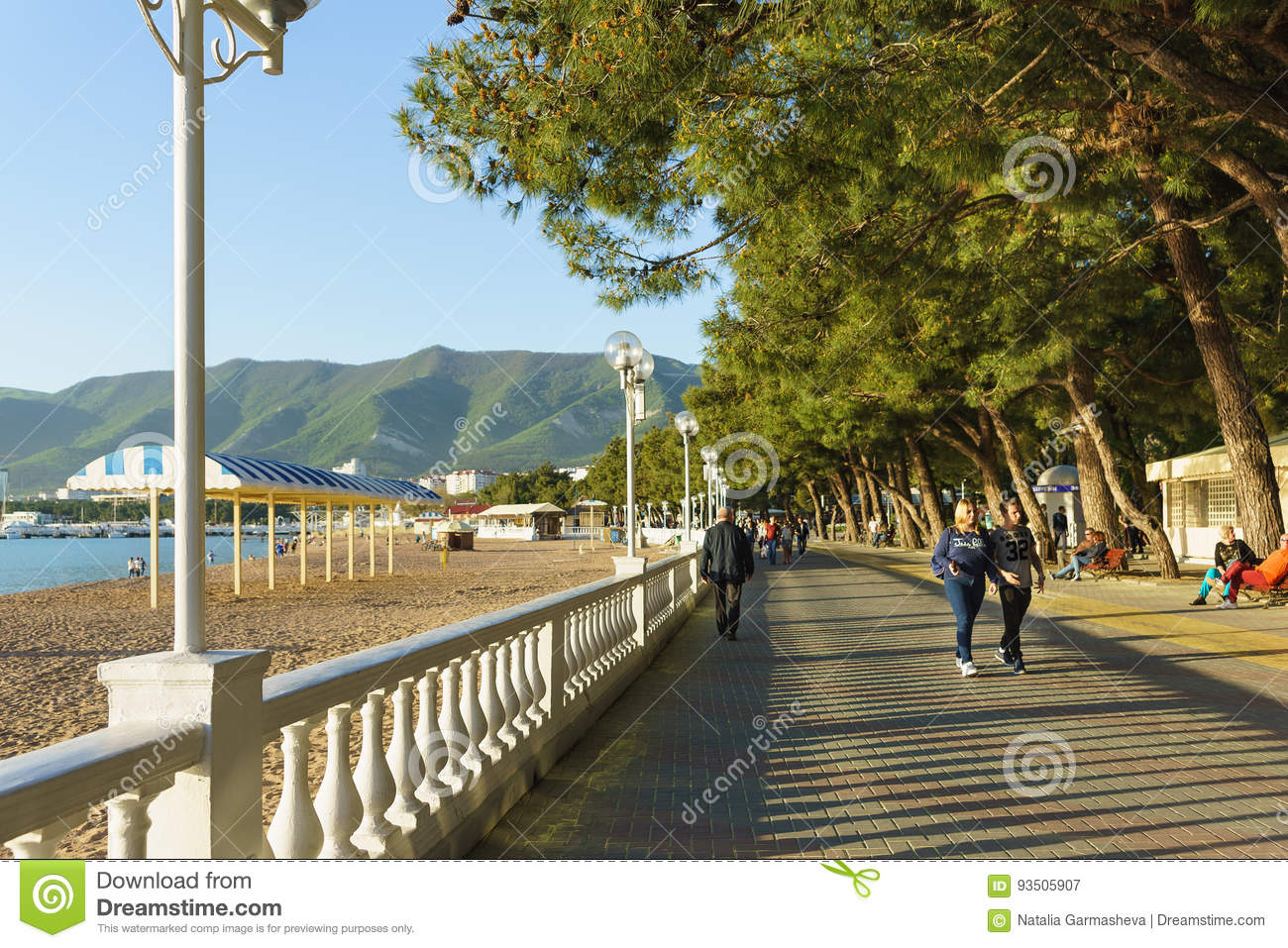 Gelendzhik Krasnodar Krai Russia April 29 2017 People Walk Along The Embankment Of Gelendzhik On The Background Of Mountains Editorial Photography Image Of Quay Promenade 93505907