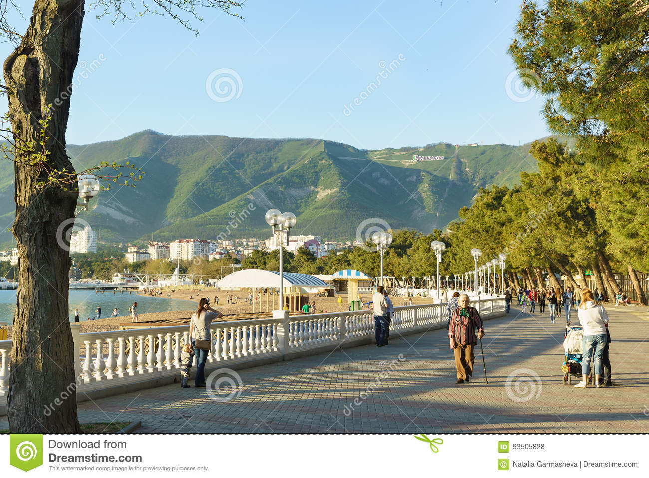 Gelendzhik Krasnodar Krai Russia April 29 2017 People Walk On The Evening Promenade Of Gelendzhik On The Background Of Mounta Editorial Stock Photo Image Of Paint Resort 93505828