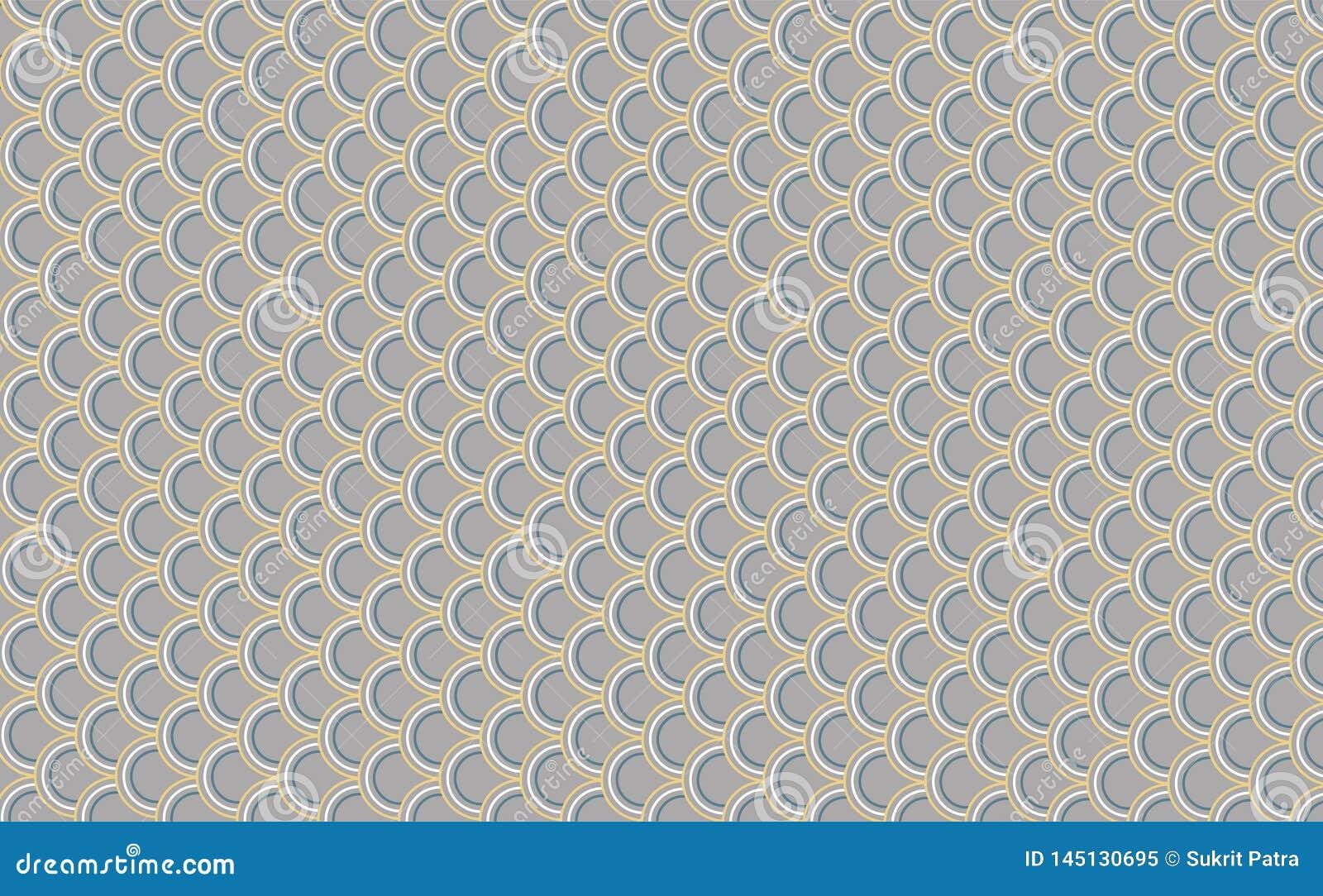 Gelijkaardig patroon als achtergrond, grijze vissenschalen, weerspiegelende gele randen Japanse stijlachtergrond - vector