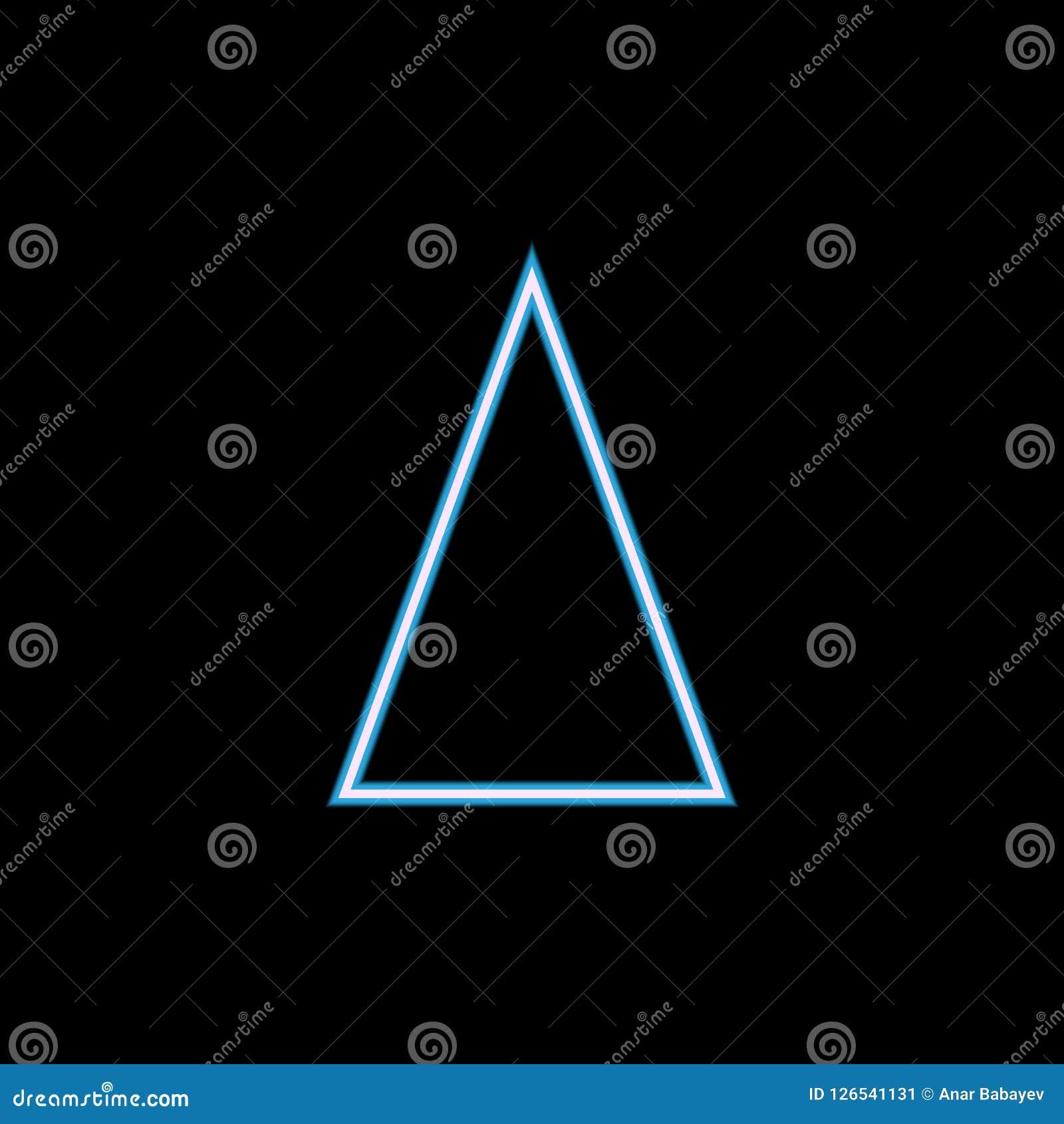 Gelijkbenig driehoekspictogram in neonstijl Één van het geometrische pictogram van de cijferinzameling kan voor UI, UX worden geb