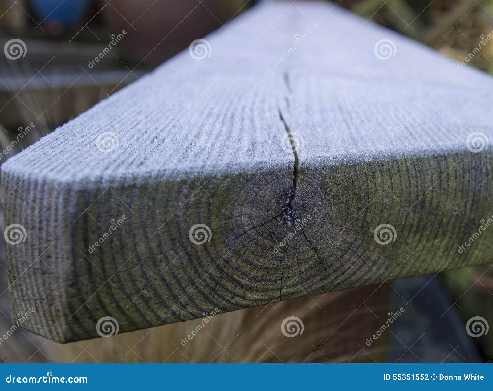 Gelo sul sedile del ceppo con grano di legno