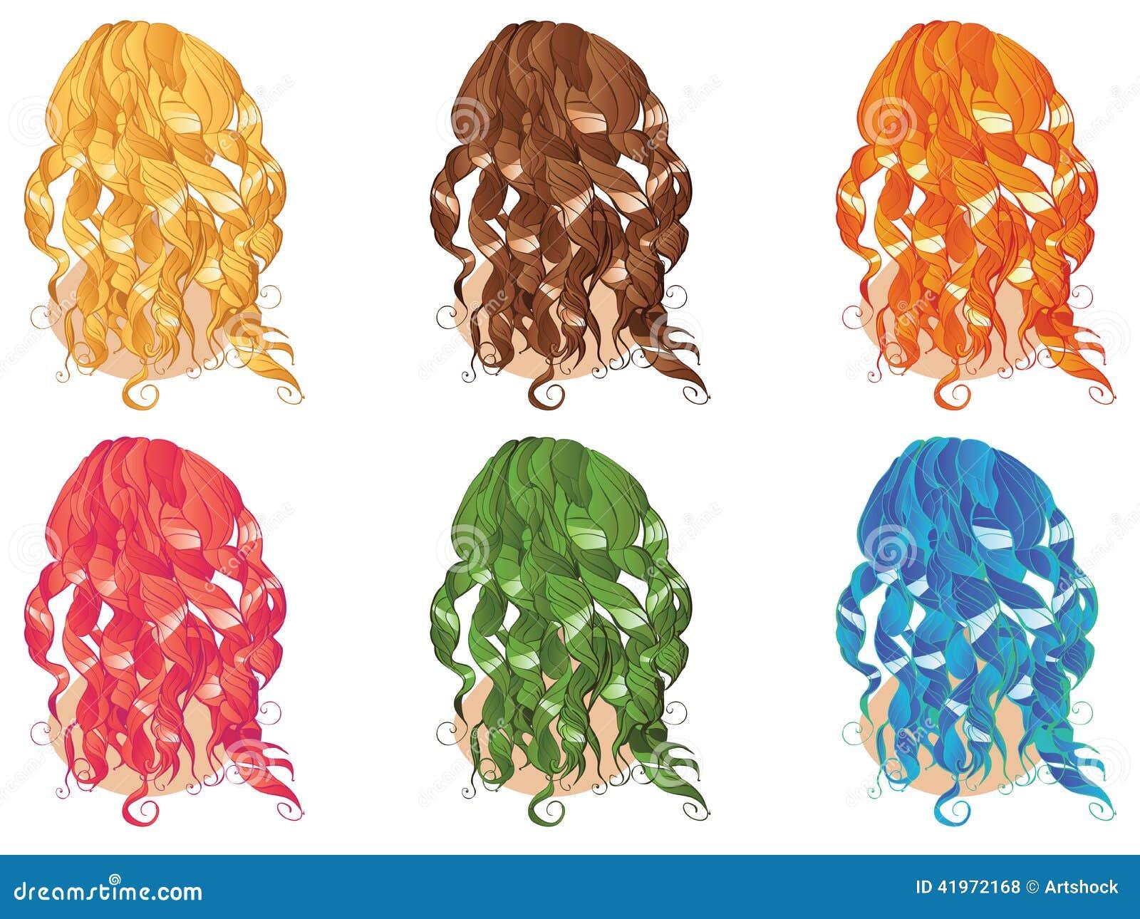 Gelockte Frisuren Vektor Abbildung Illustration Von Ausführlich
