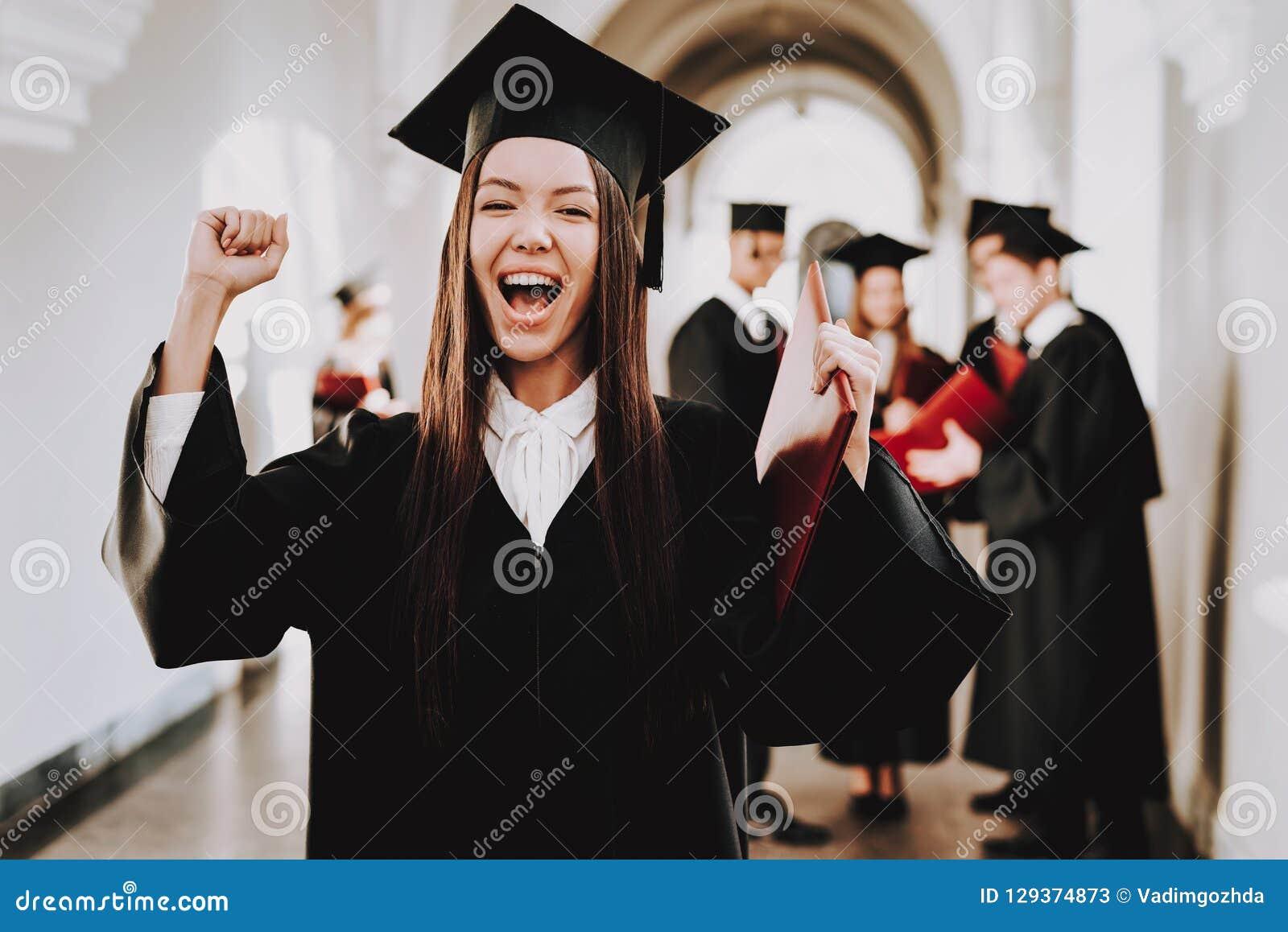 Geluk Aziatisch Meisje gediplomeerde status glb