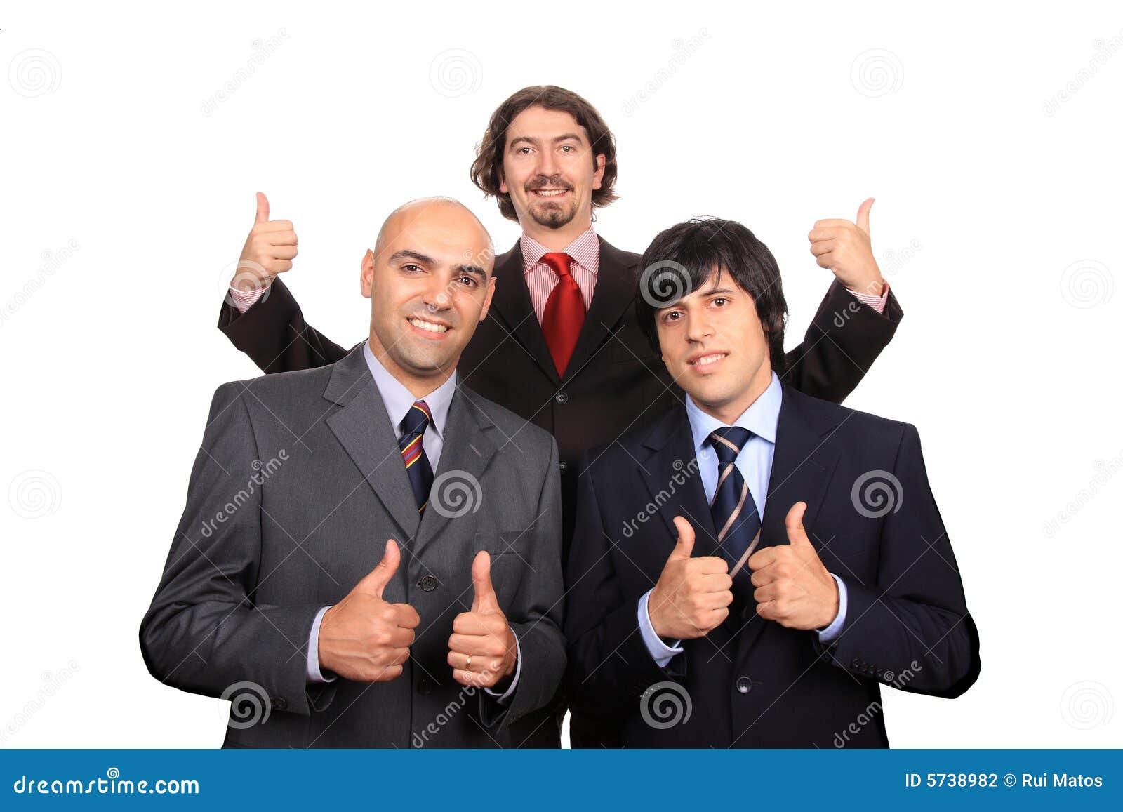Gelukkig commercieel team met omhoog duimen
