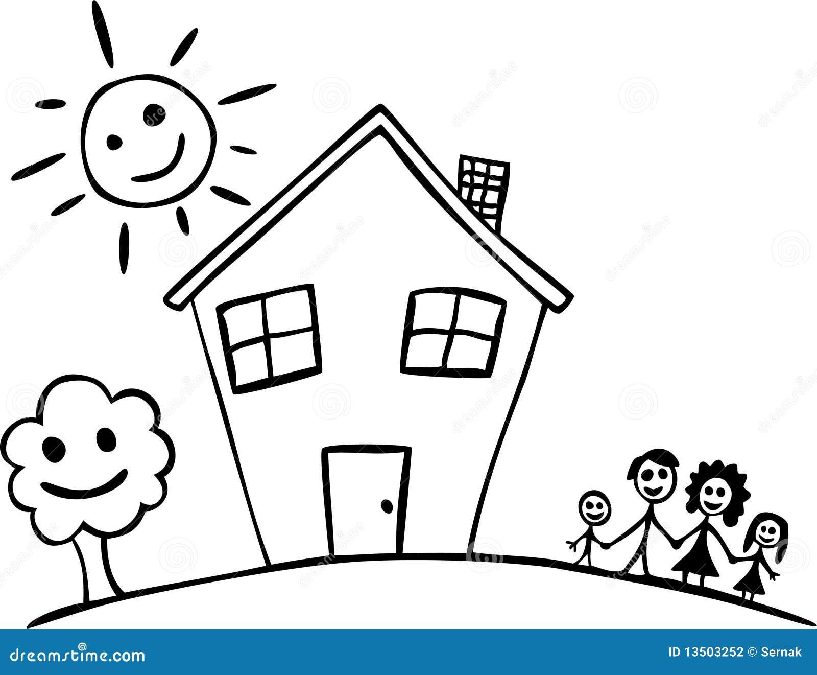 Desenhar Casas Gelukkig Familie En Huis Vector Illustratie Illustratie