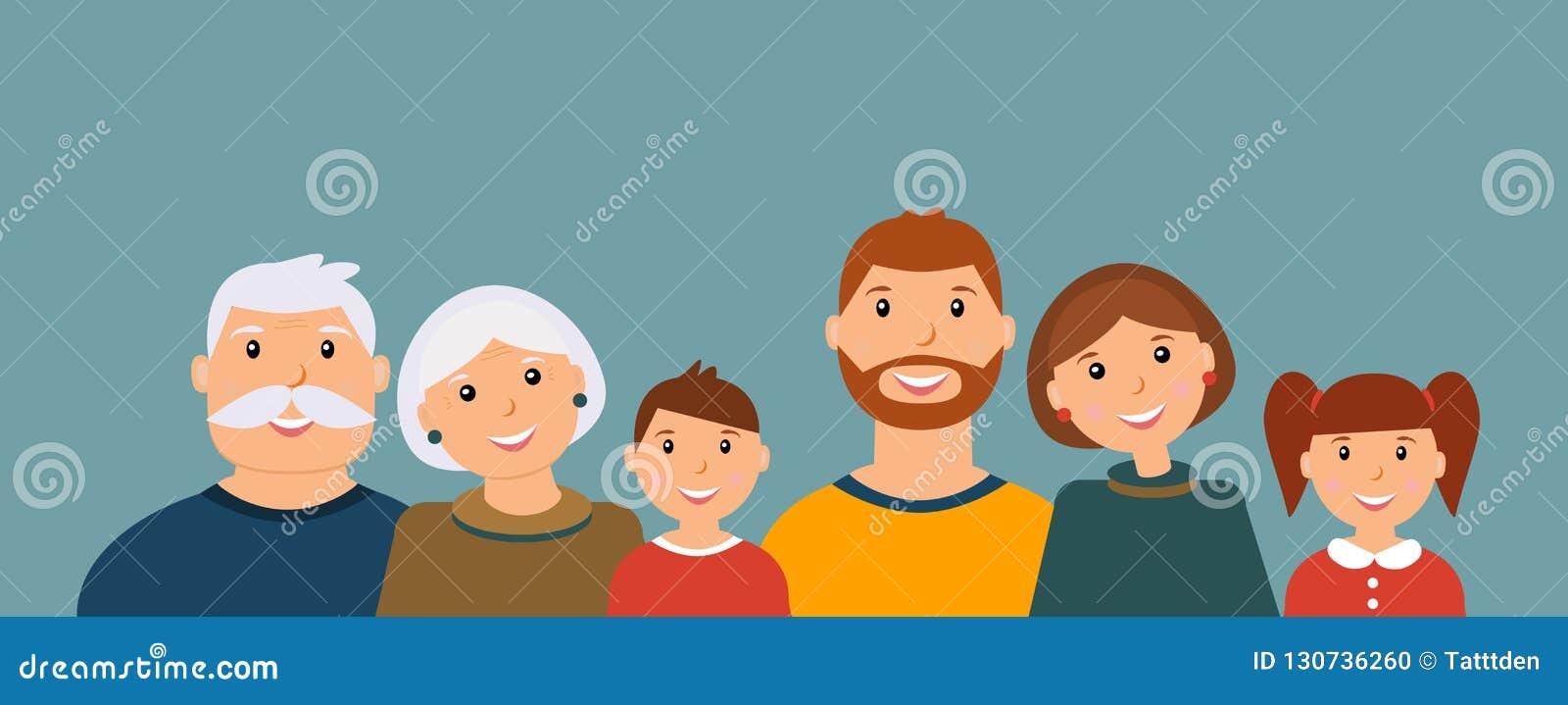 Gelukkig familieportret: grootvader, grootmoeder, vader, moeder, zoon en dochter