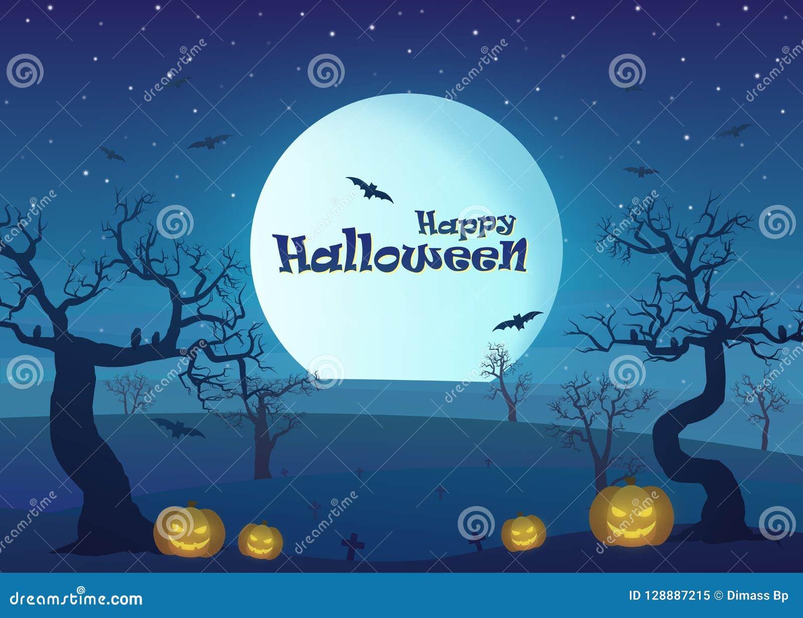 Gelukkig Halloween in het landschap van het droogtegebied bij nacht met dode boom, pompoenen, en volle maan