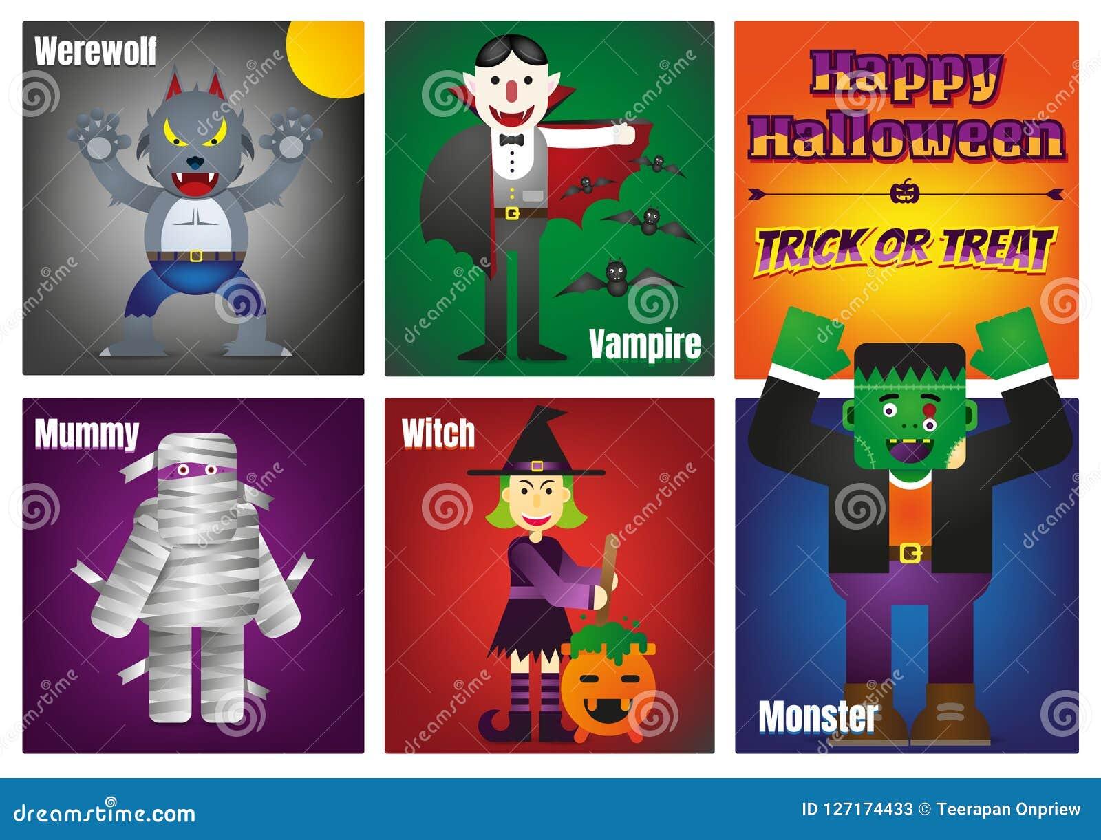 Gelukkig Halloween met Kleurrijke Halloween-Karakters