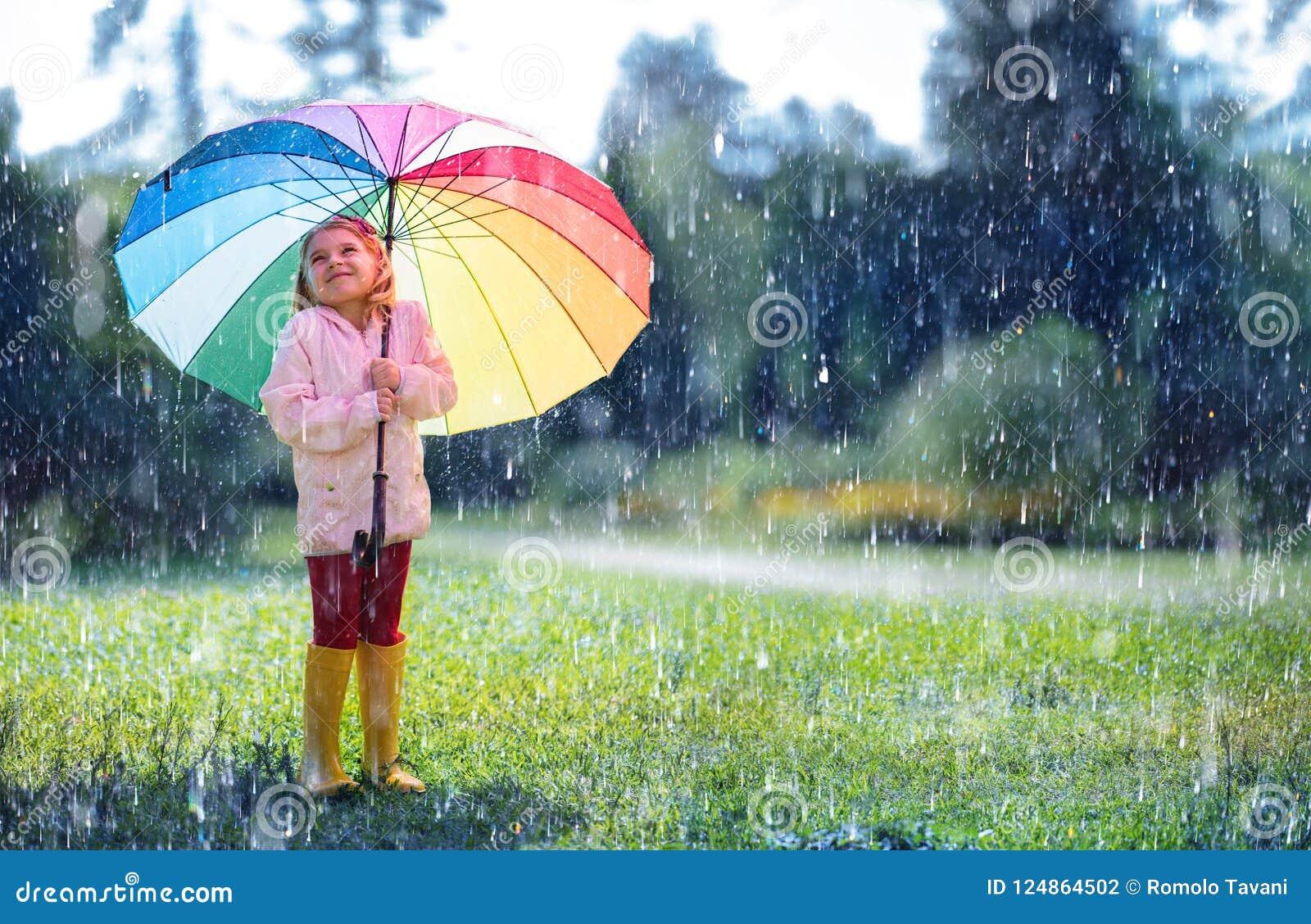 Gelukkig Kind met Regenboogparaplu