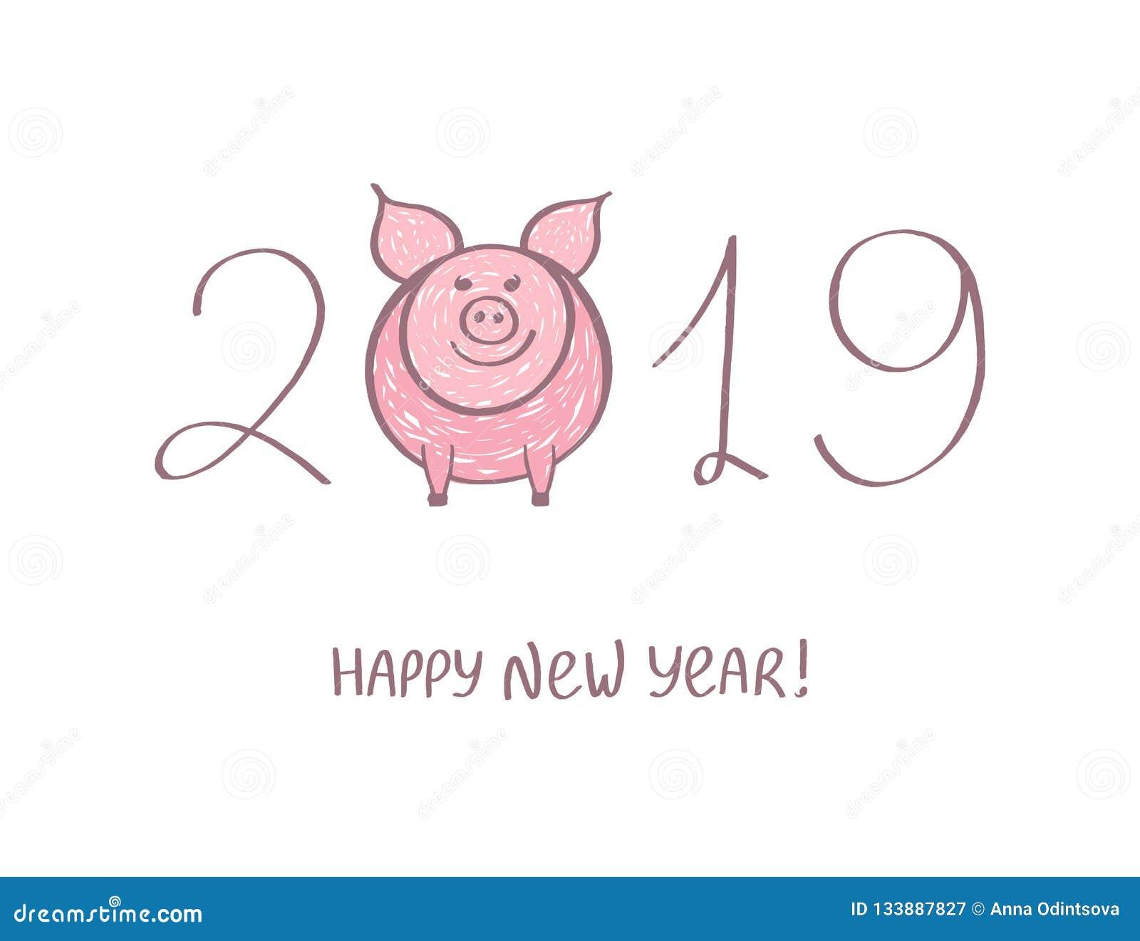 Gelukkig leuk grappig roze varken 2019 Hand getrokken kalligrafisch beeldverhaalsymbool voor het ontwerp van de Nieuwjaarvakantie