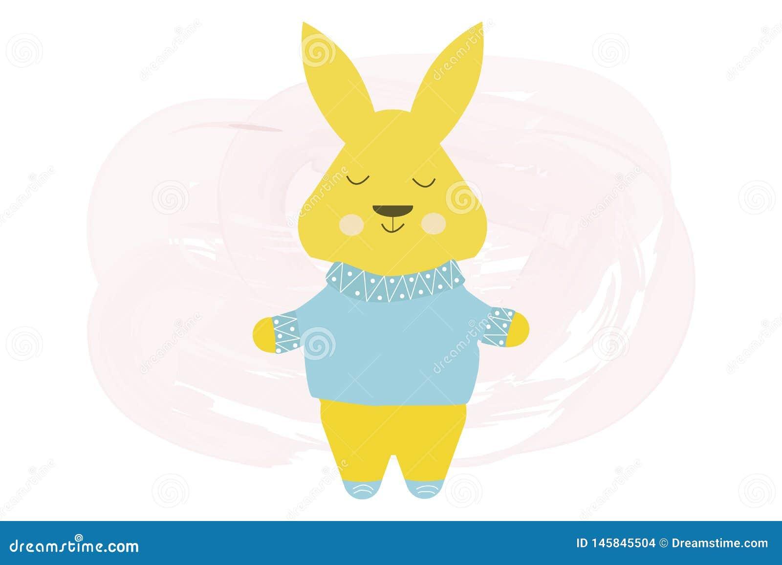 Gelukkig leuk konijn in blauwe sweater - vectorbeeldverhaalillustratie