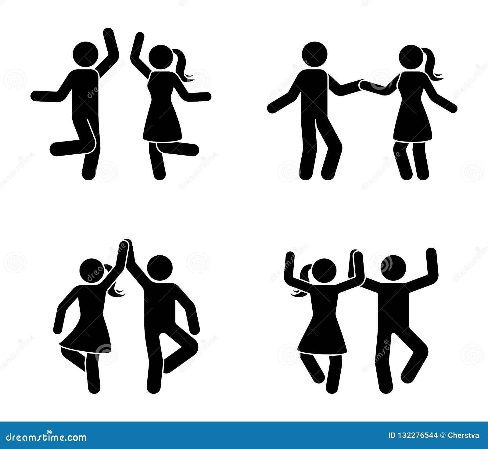 Gelukkig mannelijk en vrouwelijk stokcijfer die samen dansen Het zwart-witte pictogram van het partijpictogram