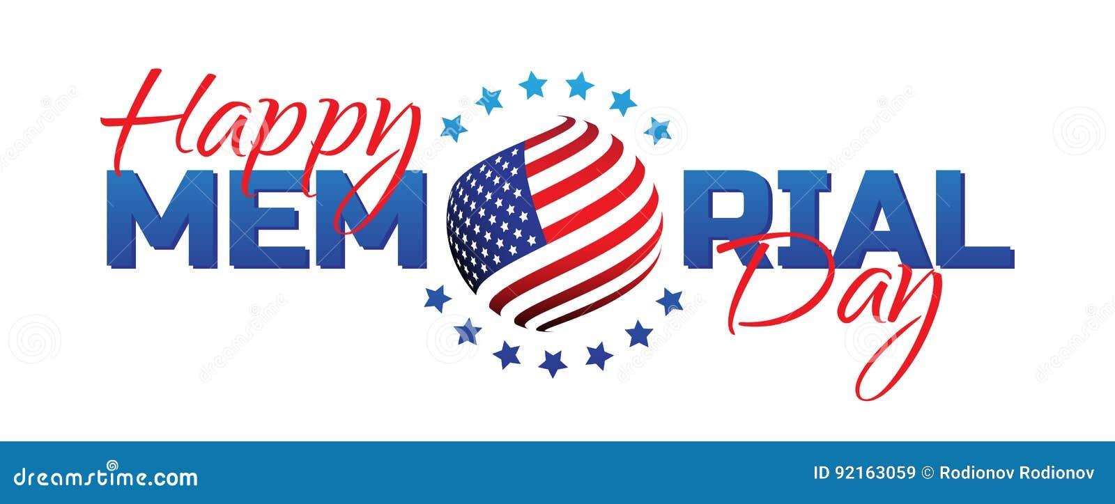 Gelukkig Memorial Day -teken met nationale vlagkleuren die op witte achtergrond worden geïsoleerd Herinner me en eer