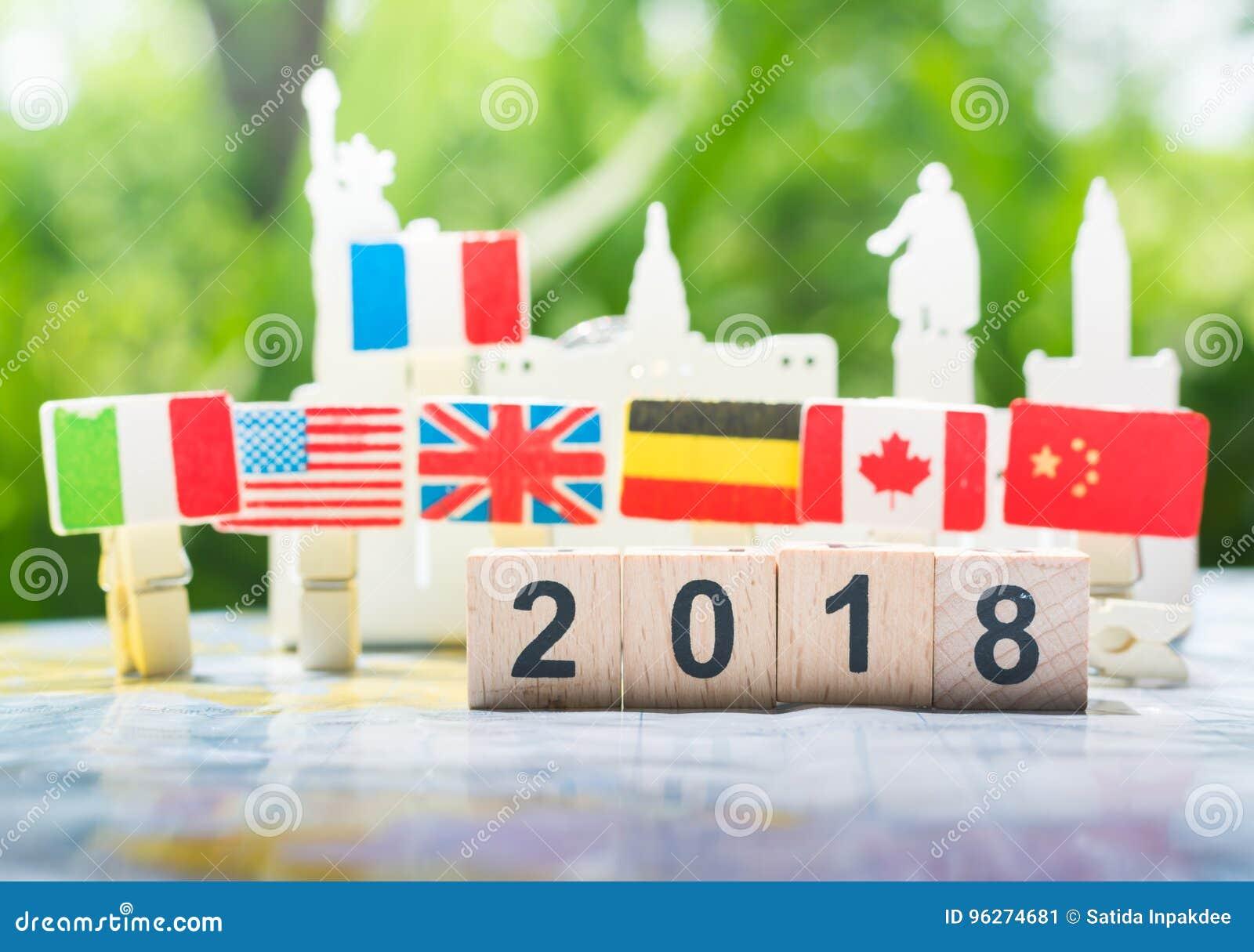 Gelukkig nieuw jaar 2018 concept, internationale samenwerking, groepswerk
