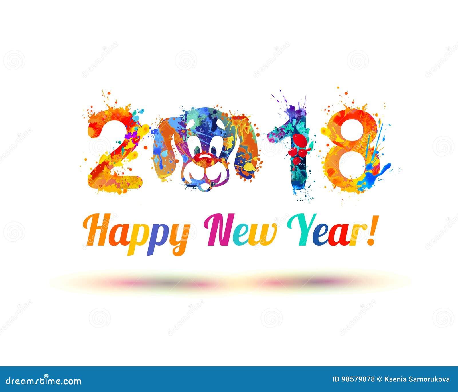Gelukkig nieuw jaar 2018 Hondsnuit
