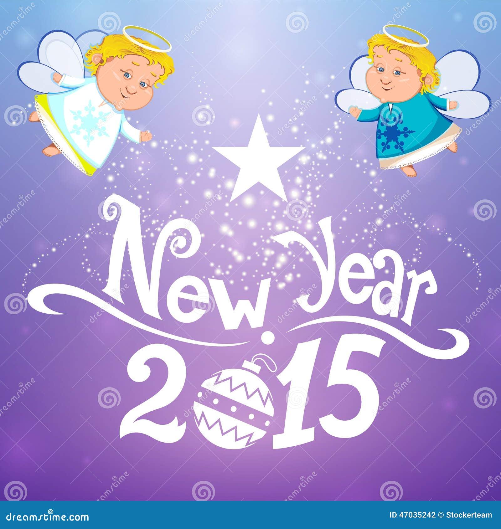 Gelukkig nieuw jaar met engelen