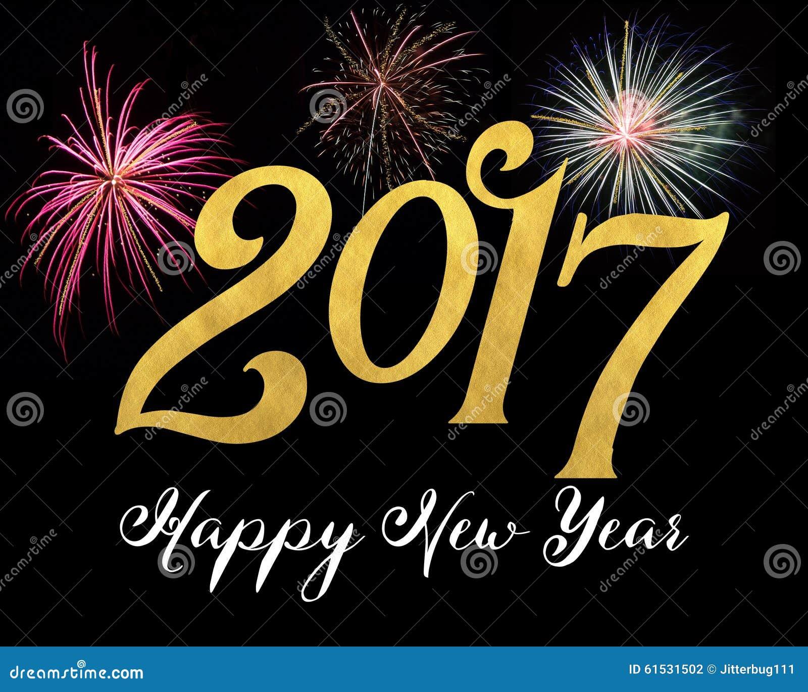 De Gelukkige Nieuwjaarskaart van in 2017 met vuurwerk en gouden ...: nl.dreamstime.com/stock-foto-gelukkig-nieuwjaar-image61531502
