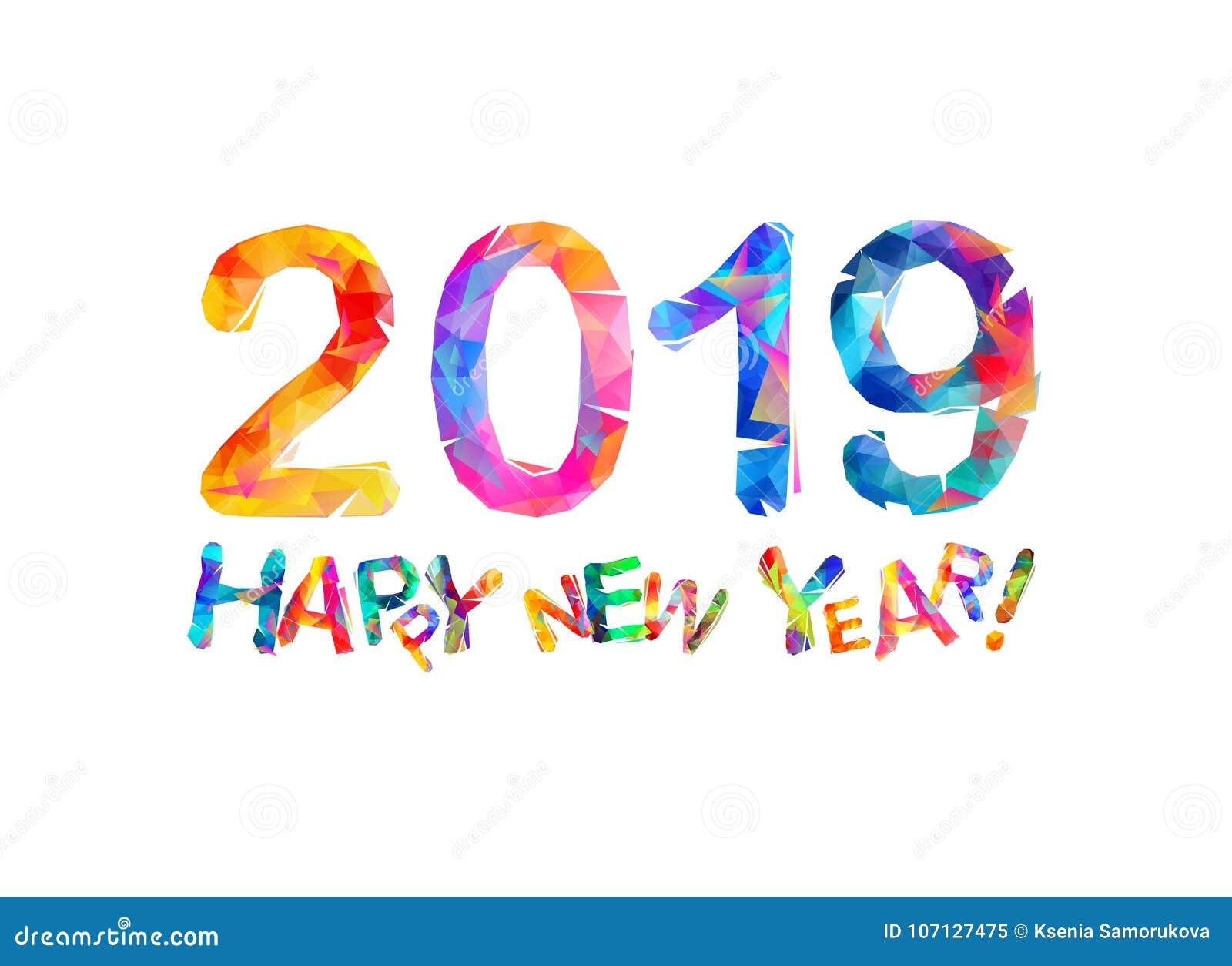 Gelukkig Nieuwjaar 2019 De Kaart Van De Gelukwens Vector Illustratie