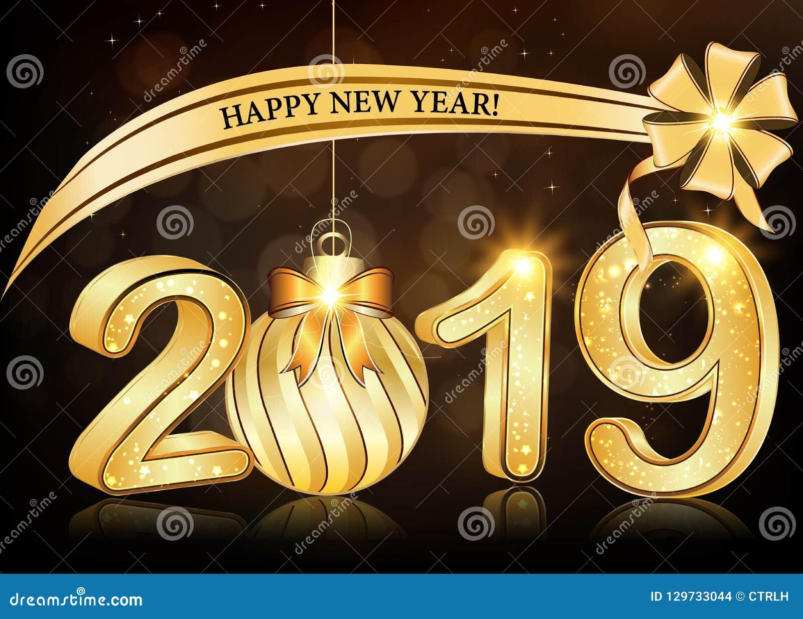 Gelukkig Nieuwjaar 2019 - elegante bruine groetkaart met 3d teksten