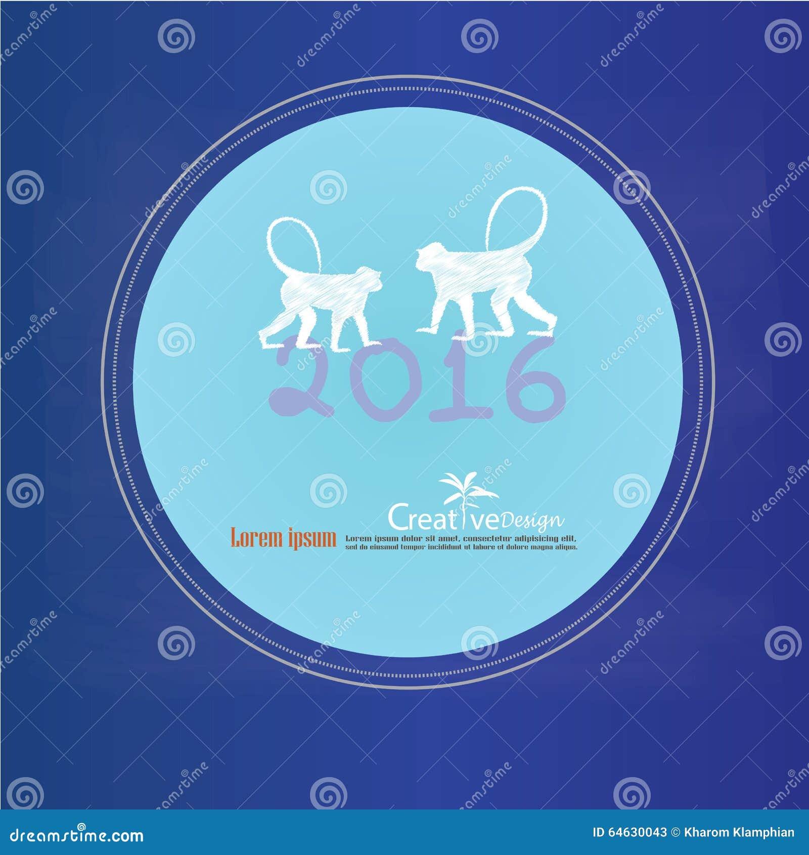Gelukkig Nieuwjaar 2016 Gelukkige nieuwe jaargroet met aap en verkleumd