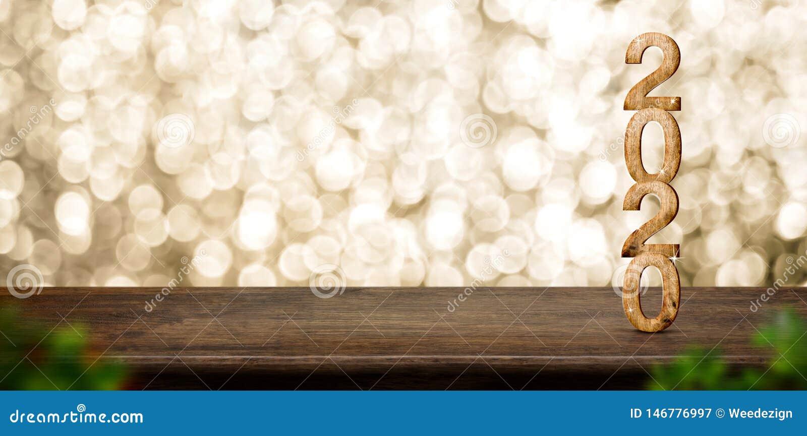 Gelukkig Nieuwjaar 2020 hout met fonkelende ster op bruine houten lijst met gouden bokehachtergrond, concept van de Vakantie het