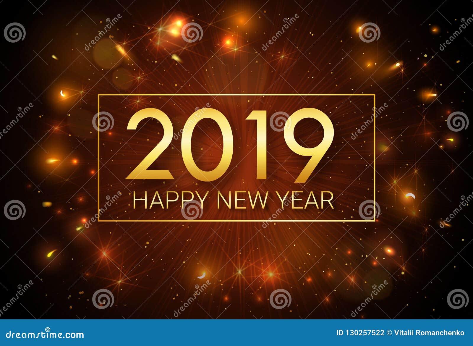 Gelukkig Nieuwjaar 2019 Kerstmis Het Begroeten Van Gouden