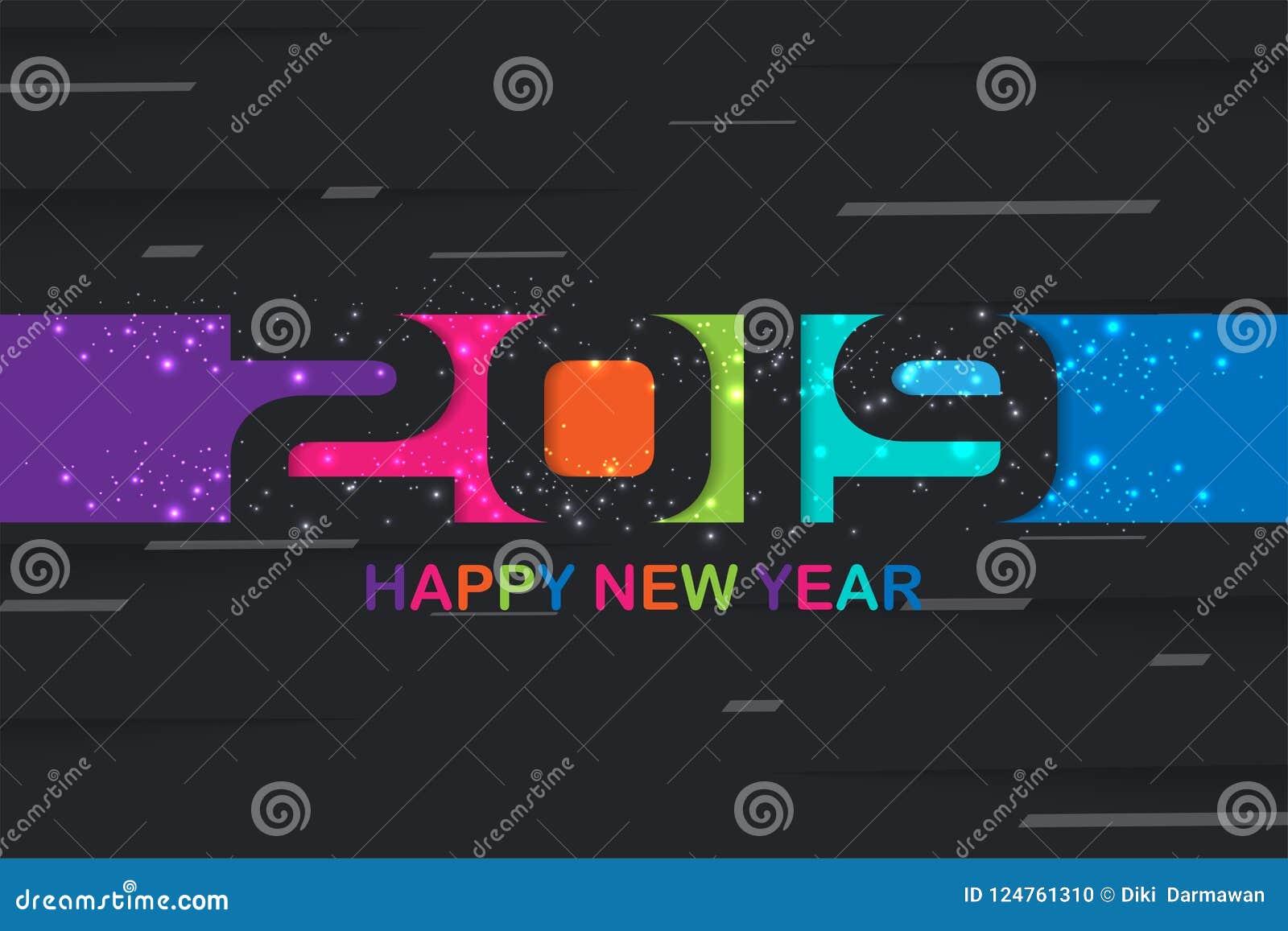 2019 Gelukkig Nieuwjaar kleurrijk creatief ontwerp als achtergrond voor uw groetenkaart, vliegers, affiches, brochure, banners, k