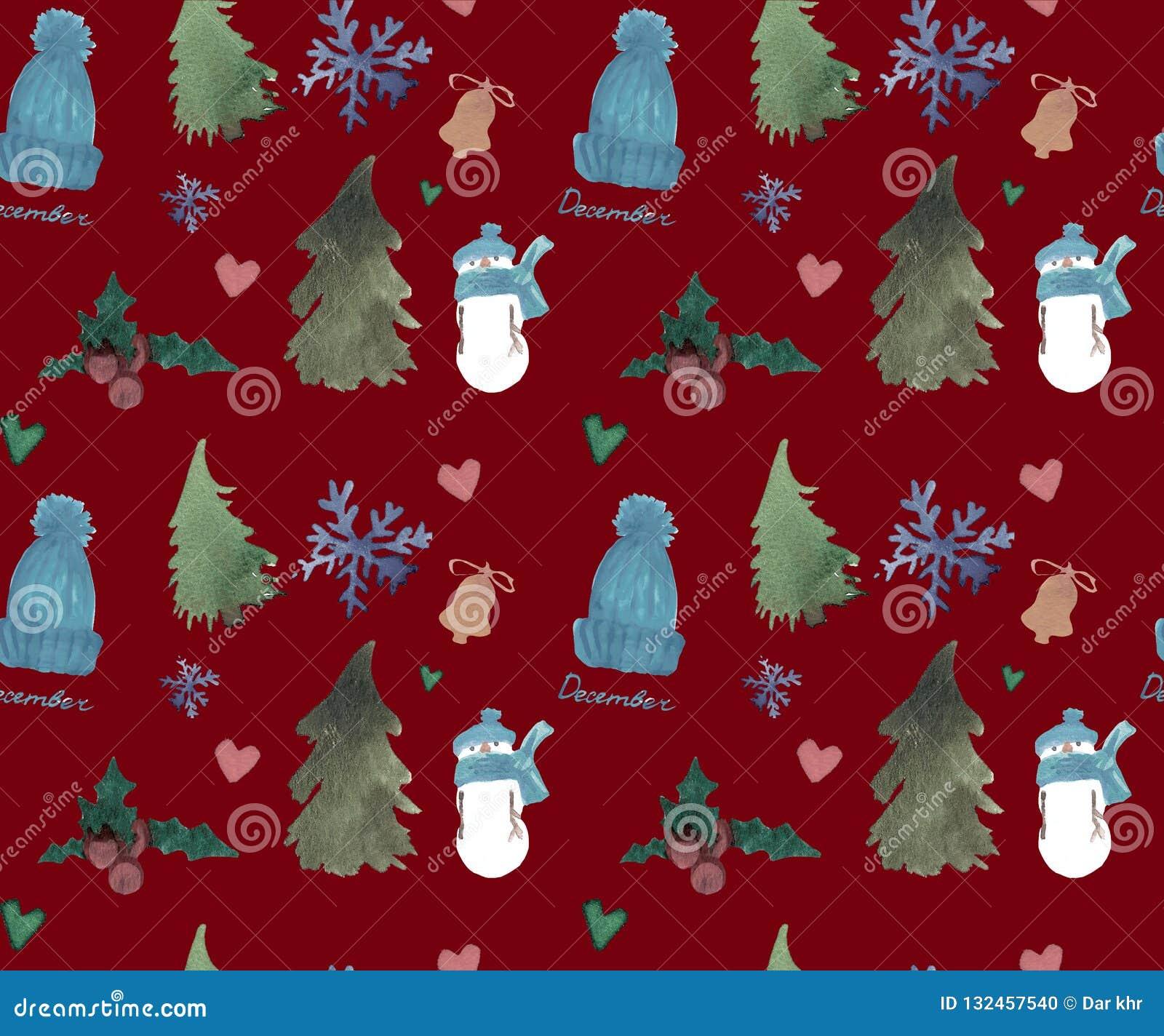 Gelukkig Nieuwjaar Naadloos Patroon, het thema van de Kerstmiswinter, Mooie Waterverfachtergrond