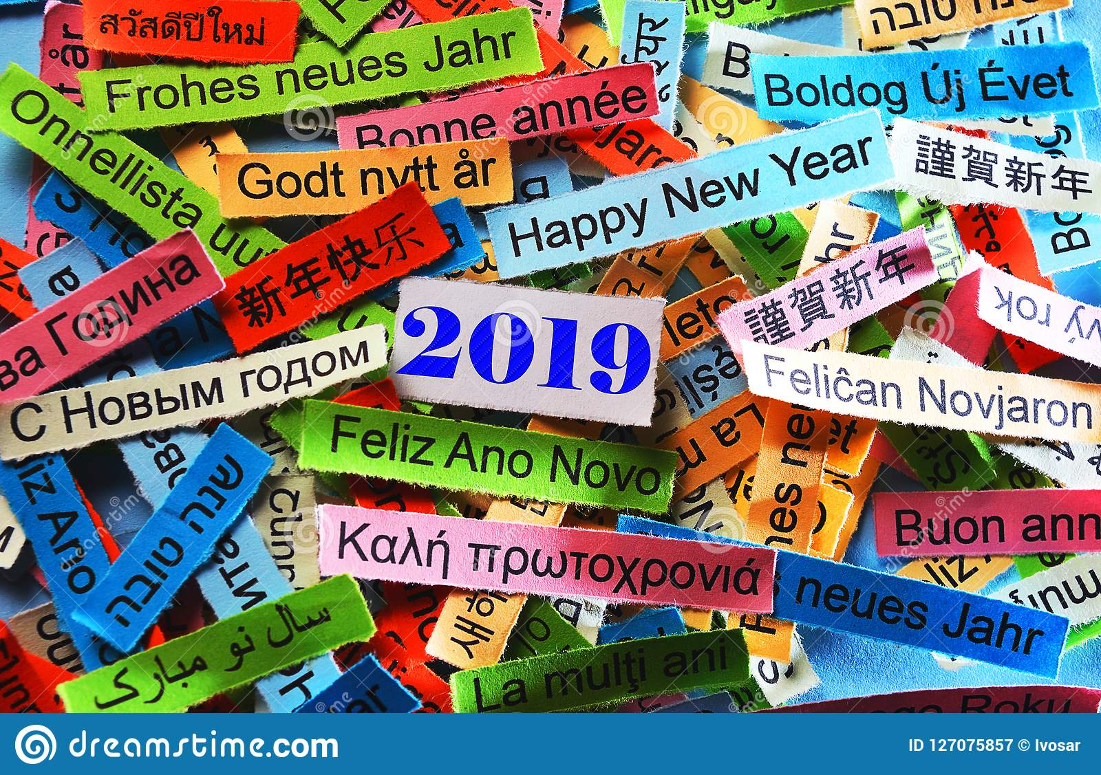 Gelukkig Nieuwjaar 2019 Op Verschillende Talen Stock Afbeelding