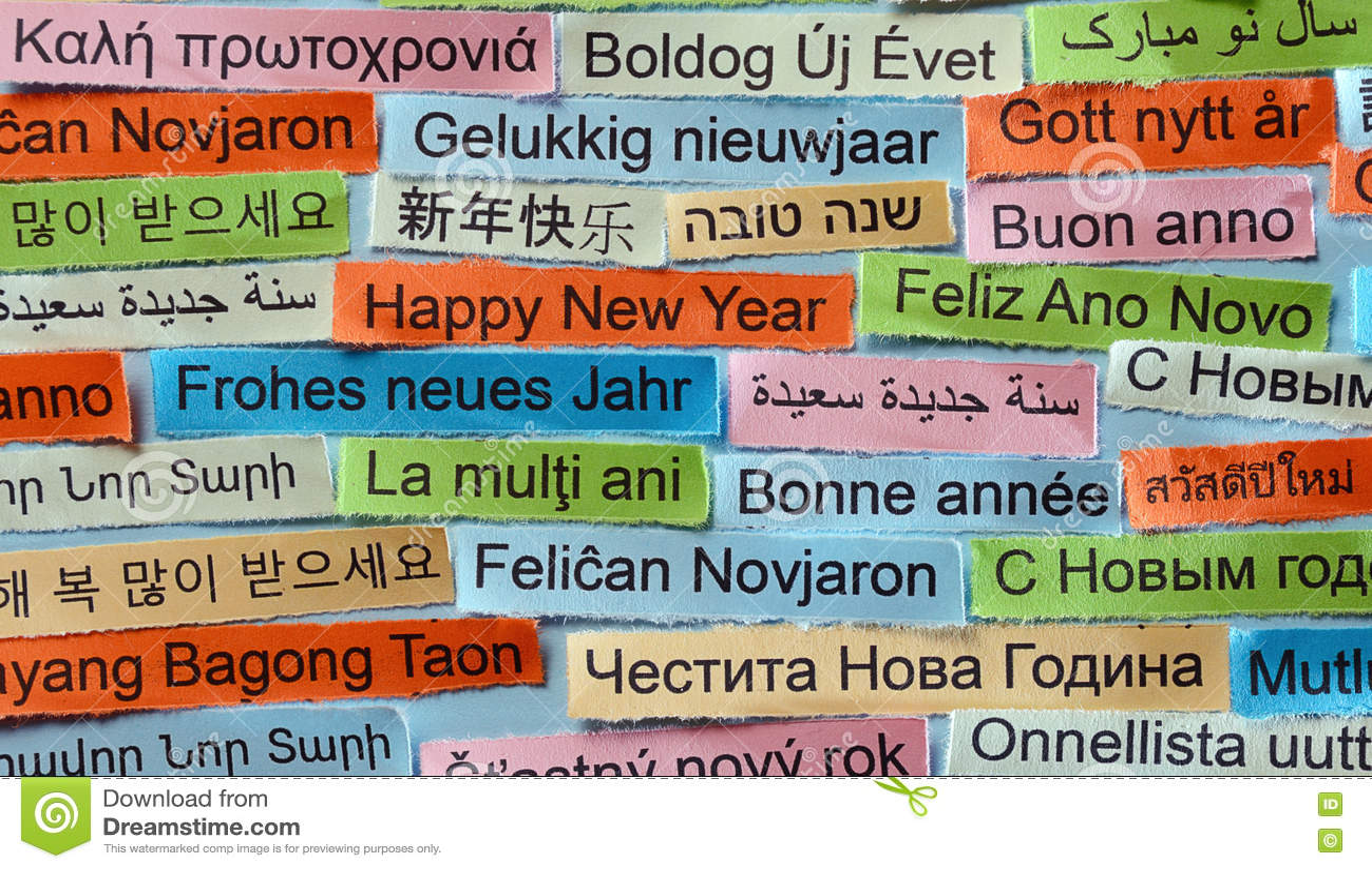 Gelukkig Nieuwjaar Op Verschillende Talen Stock Foto Afbeelding