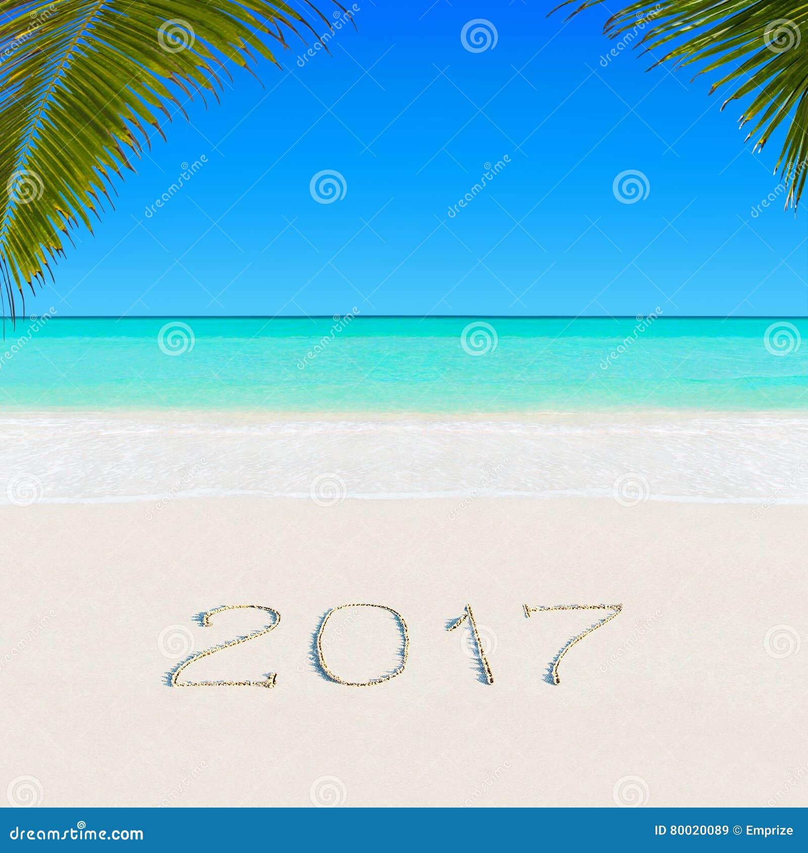 Gelukkig Nieuwjaar 2017 op zandig oceaan tropisch Palm Beach