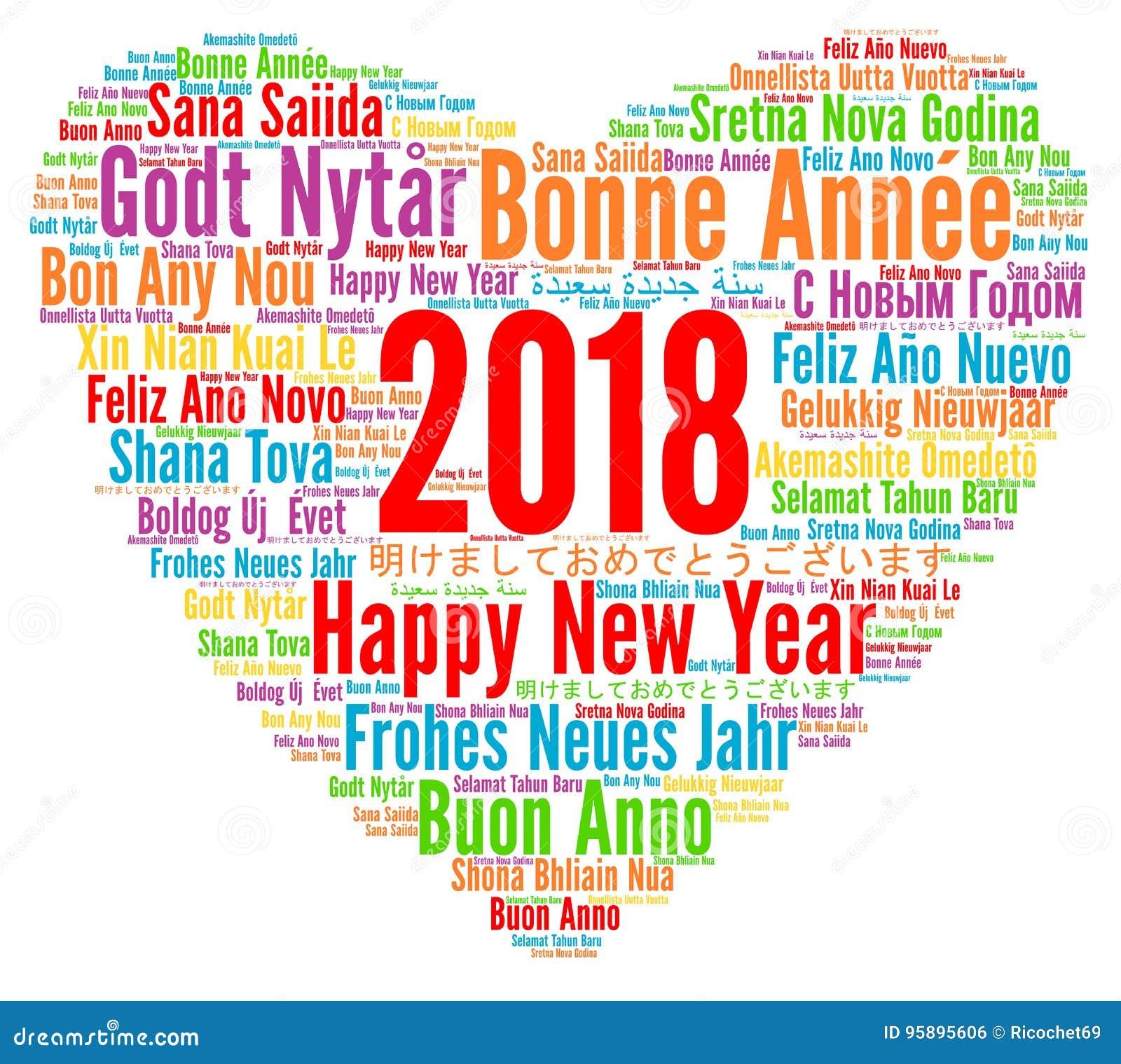 Gelukkig Nieuwjaar 2018 In Verschillende Talen Stock Illustratie
