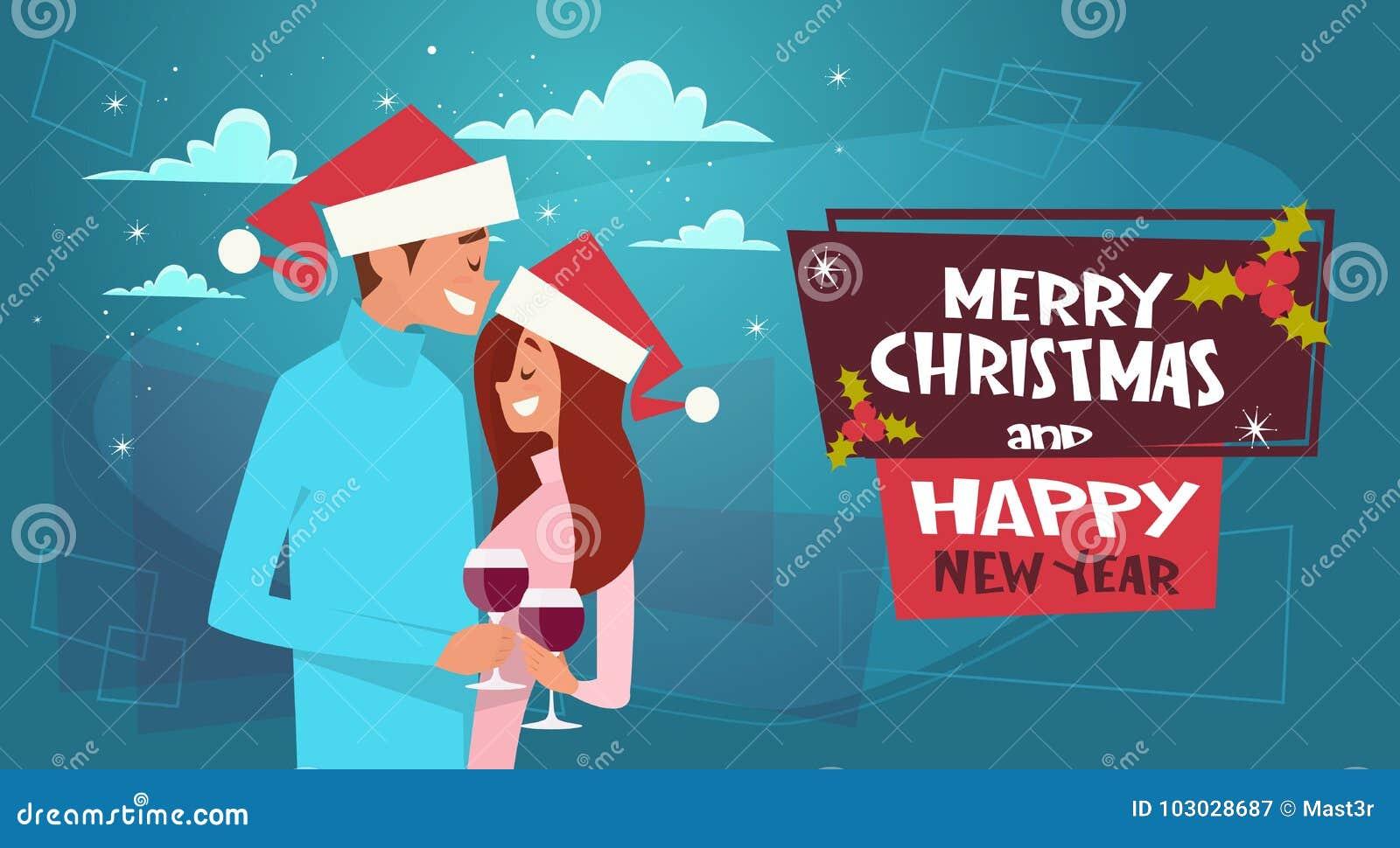 Gelukkig Paar in Santa Hats Embracing On Merry-Kerstmis en Gelukkige Nieuwjaaraffiche