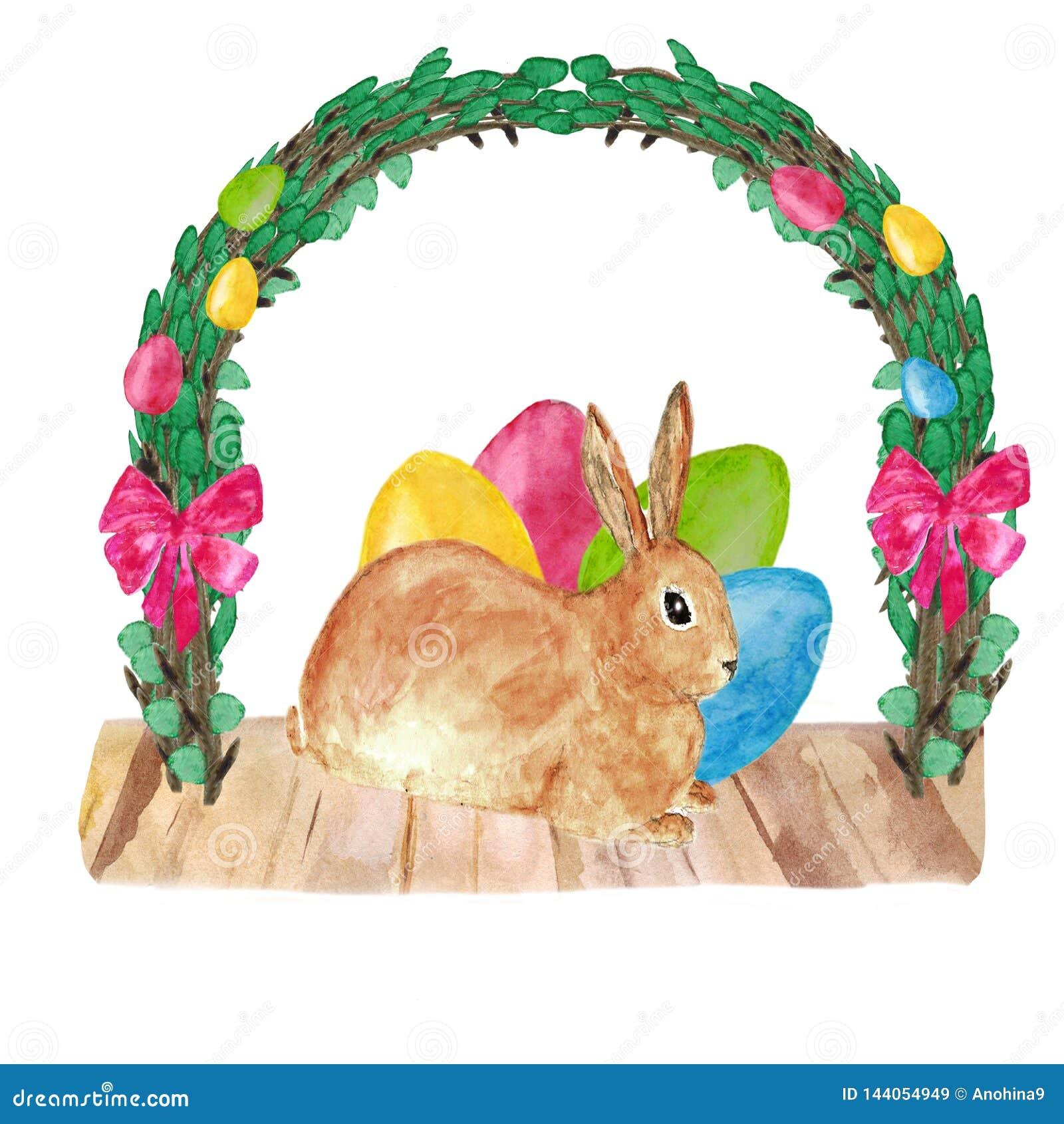 Gelukkig Pasen-decor - een leuk bruin konijn met gekleurde eieren onder het kader van rieten de lentetakjes Hand getrokken waterv