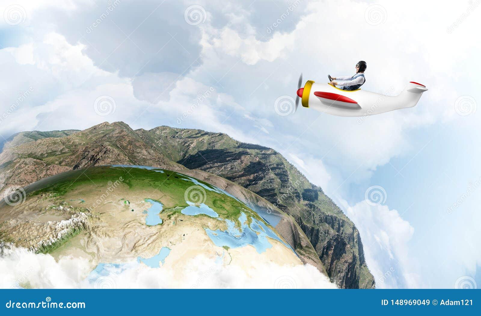 Gelukkig proef drijf klein propellervliegtuig