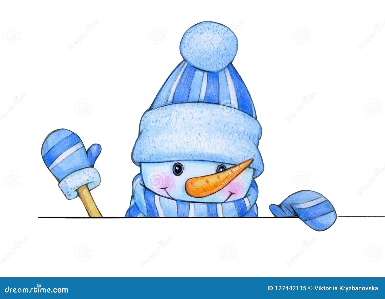 Gelukkig sneeuwmanbeeldverhaal, die door spatie verbergen