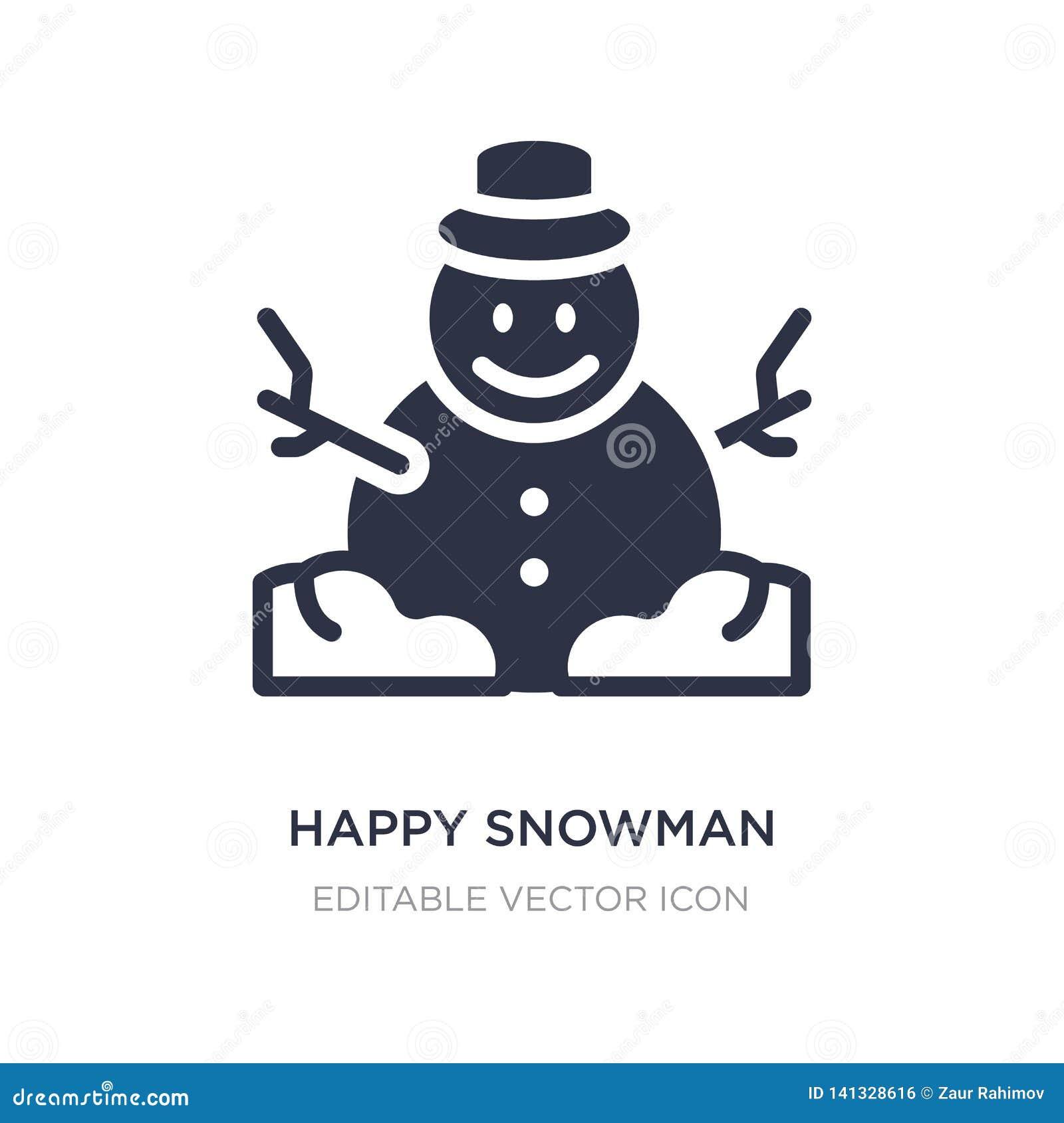 Gelukkig sneeuwmanpictogram op witte achtergrond Eenvoudige elementenillustratie van Kerstmisconcept